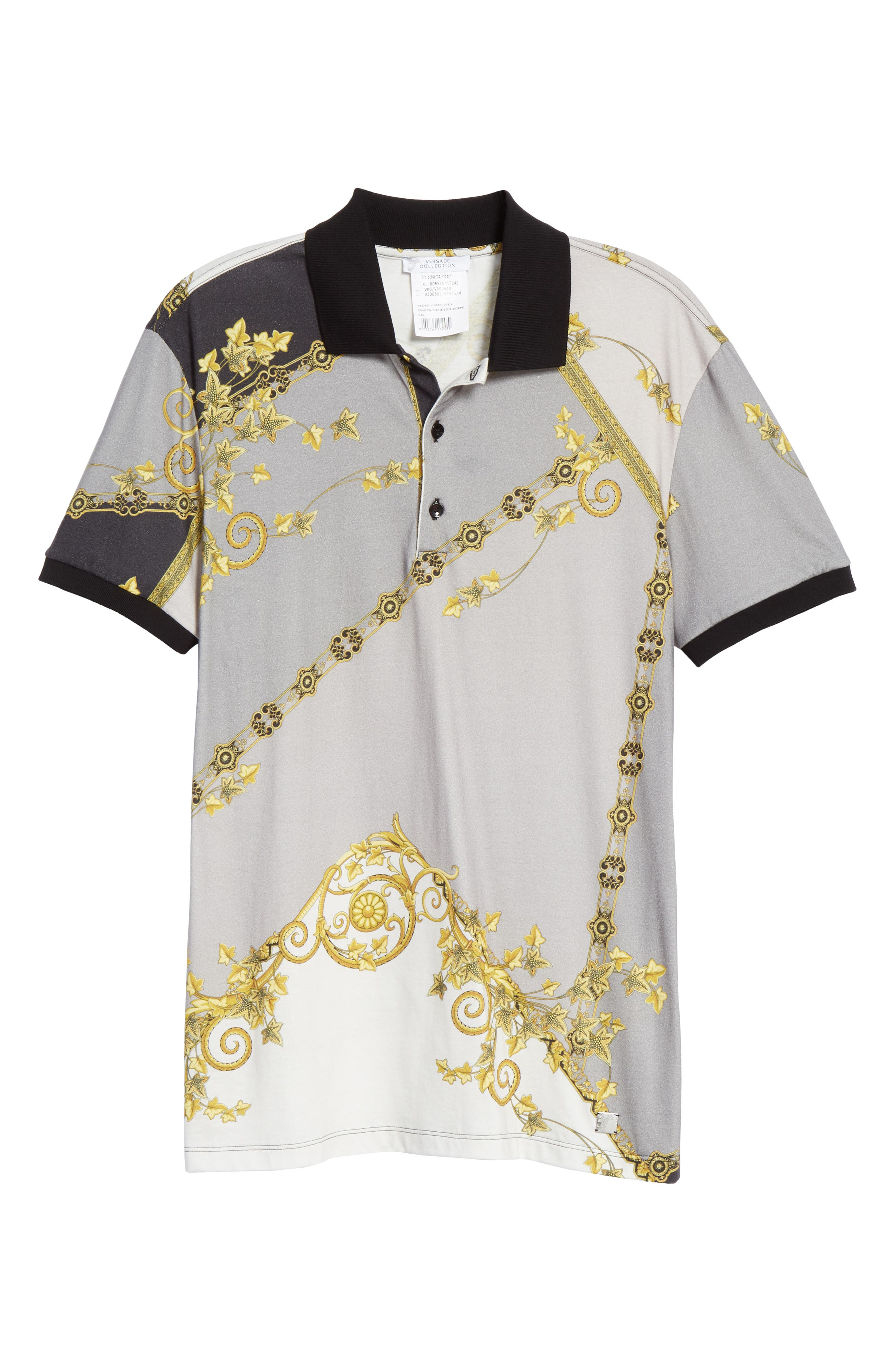 VERSACE COLLECTION,                             Print Jersey Polo,                             Alternate thumbnail 6, color,                             GREY PRINT
