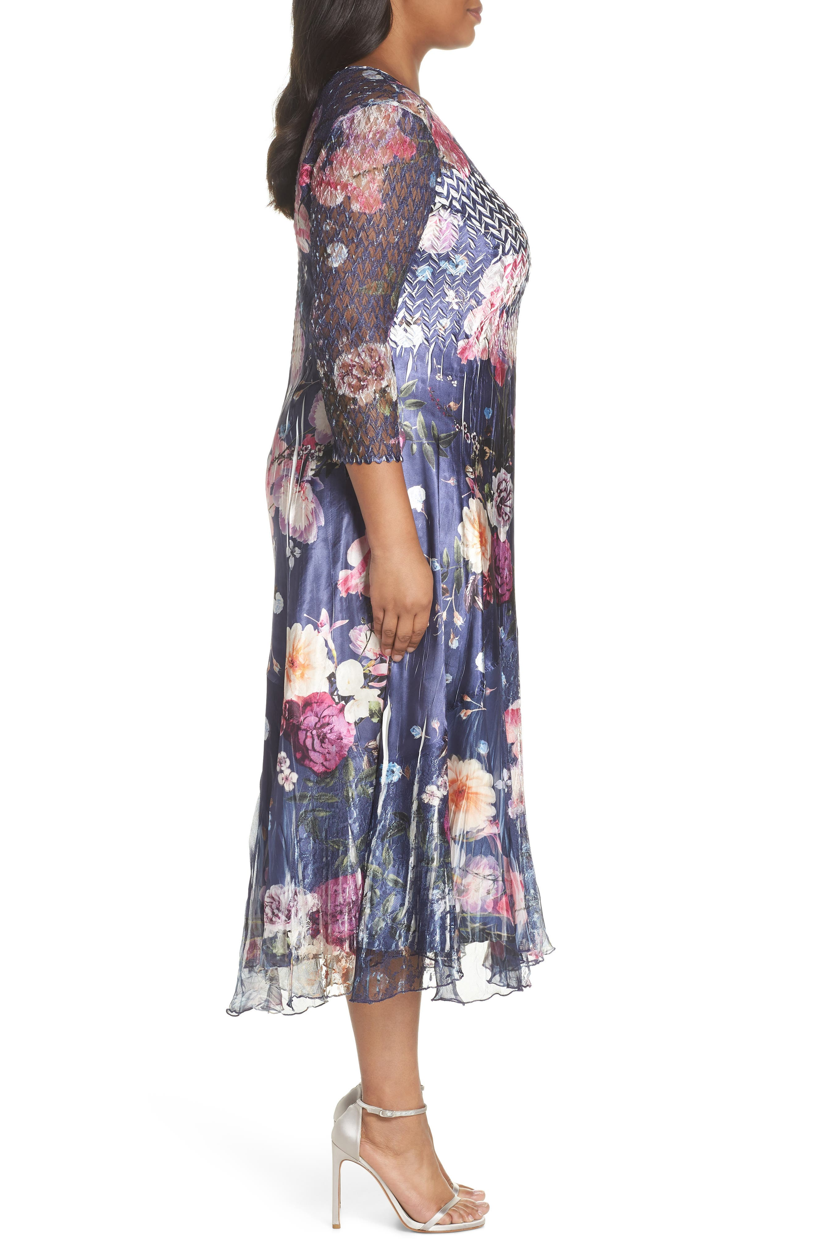 Koramov Floral Print Lace Inset Dress,                             Alternate thumbnail 3, color,                             500
