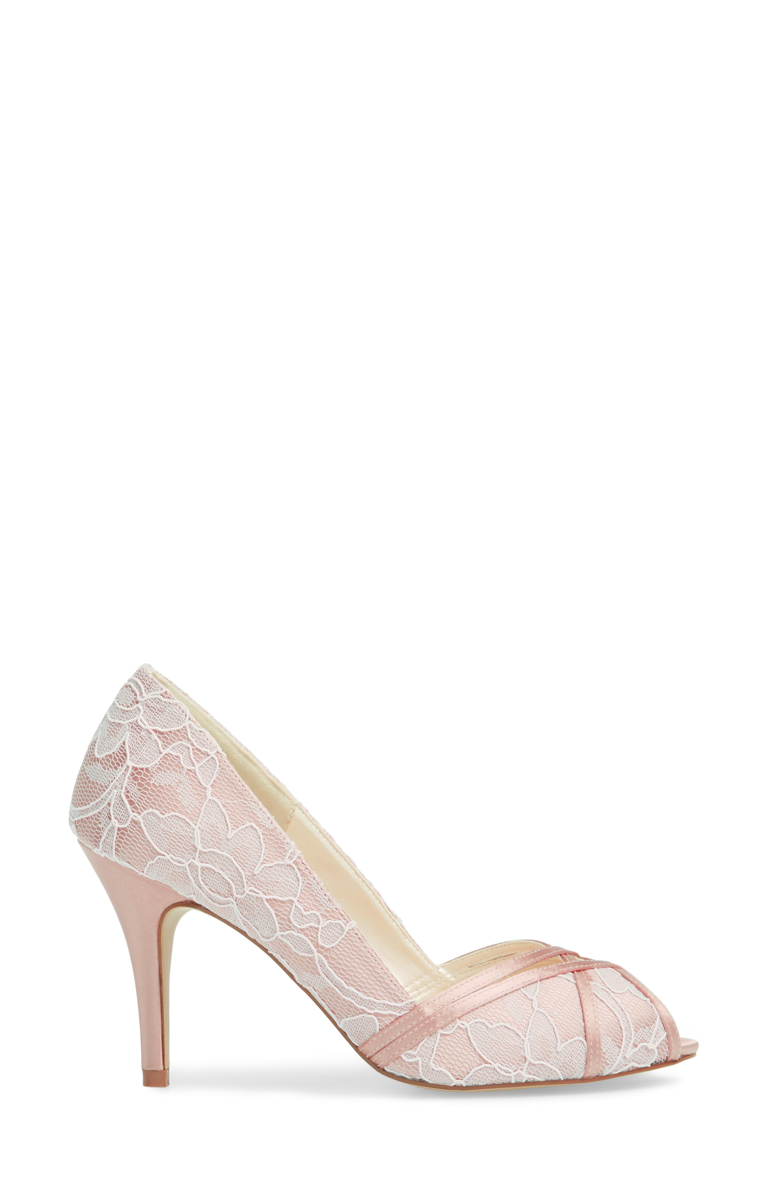 Cherie Embroidered Peep Toe Pump,                             Alternate thumbnail 3, color,                             BLUSH SATIN
