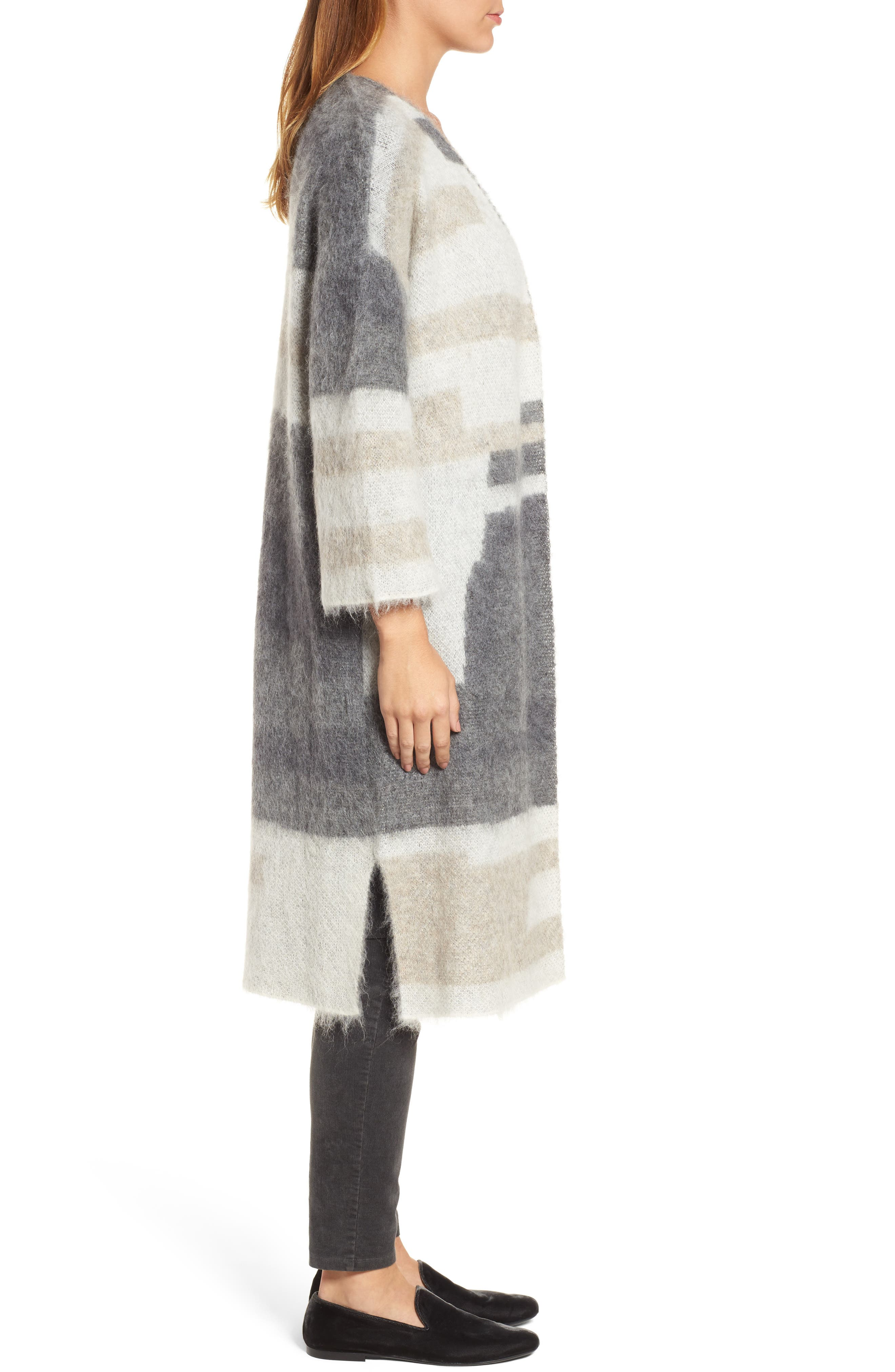 Colorblock Long Cardigan,                             Alternate thumbnail 3, color,                             030