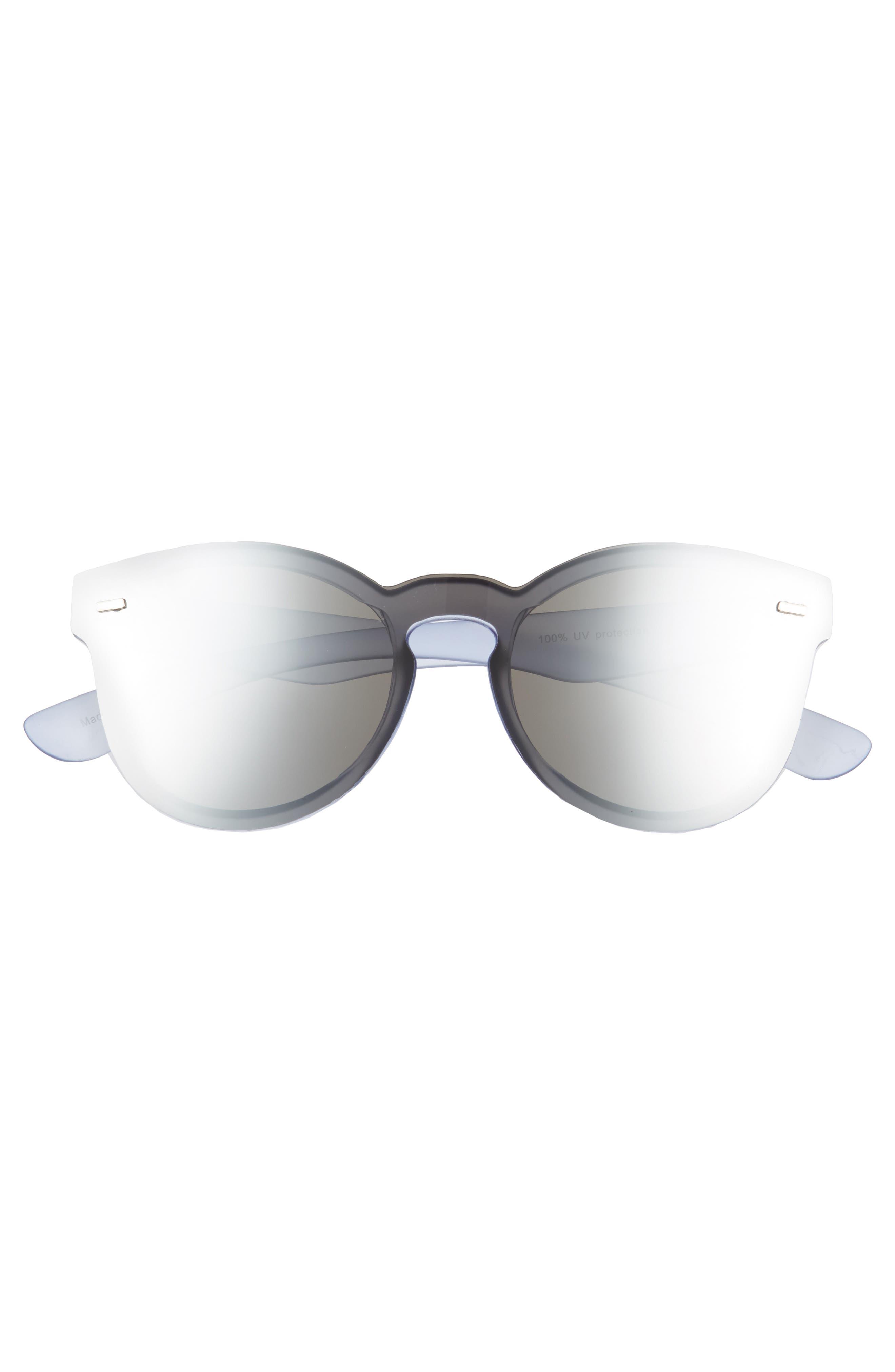 50mm Mirrored Lens Rimless Sunglasses,                             Alternate thumbnail 3, color,                             400