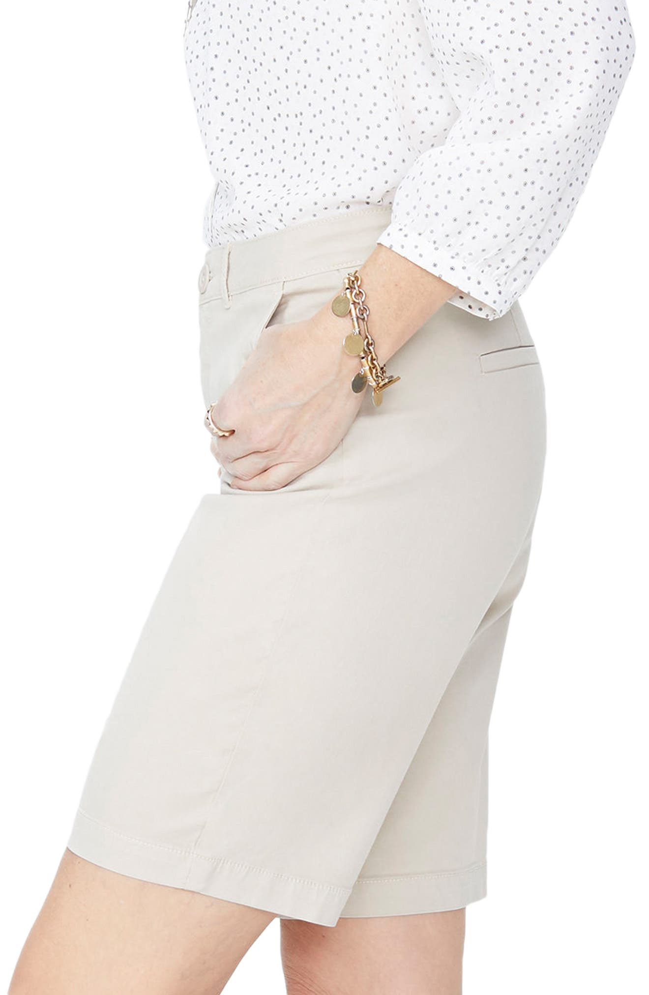 Stretch Twill Bermuda Shorts,                             Alternate thumbnail 3, color,                             FEATHER