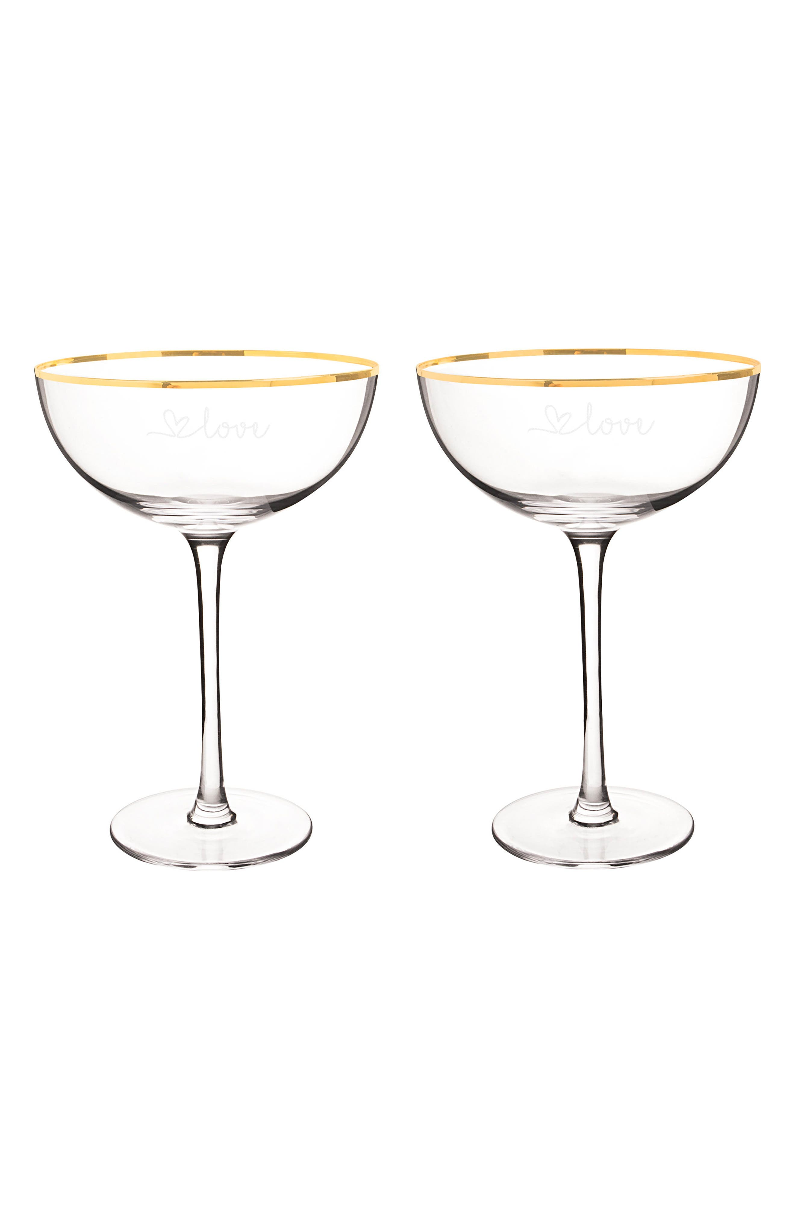 Love Set of 2 Champagne Coupe Toasting Glasses,                             Main thumbnail 1, color,                             710