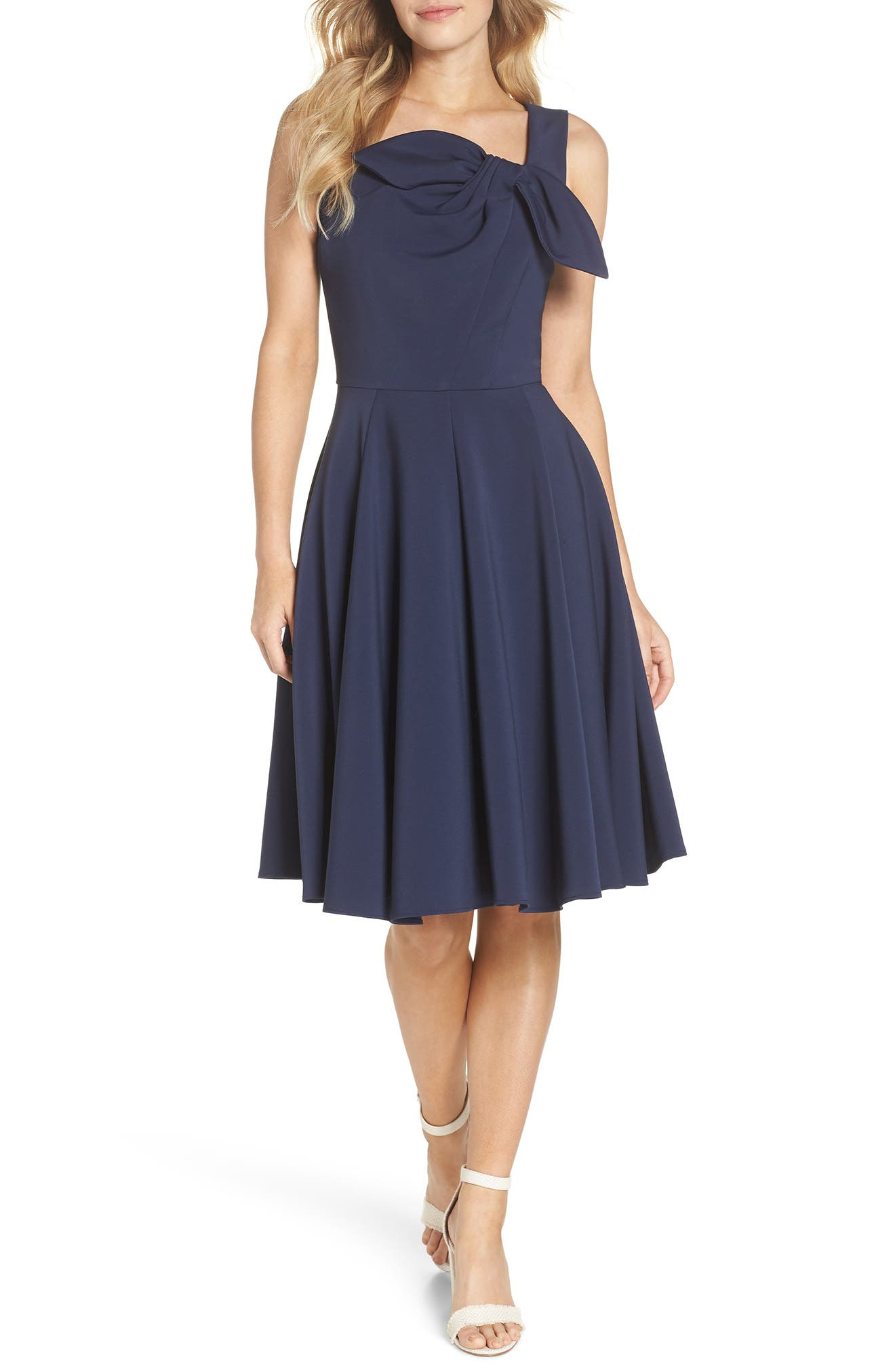 Zoe Bow Neckline Fit & Flare Dress,                             Main thumbnail 1, color,                             MIDNIGHT BLUE