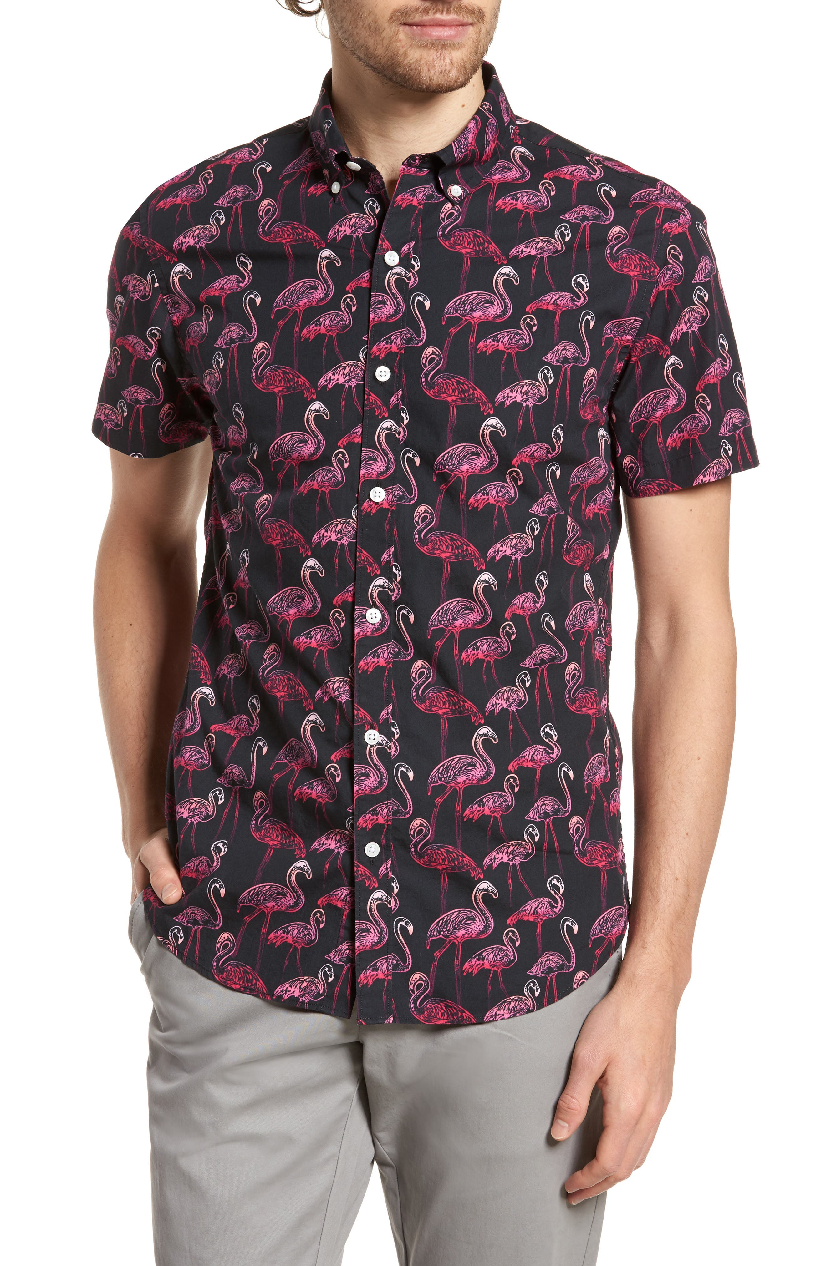 Slim Fit Flamingo Print Sport Shirt,                             Main thumbnail 1, color,