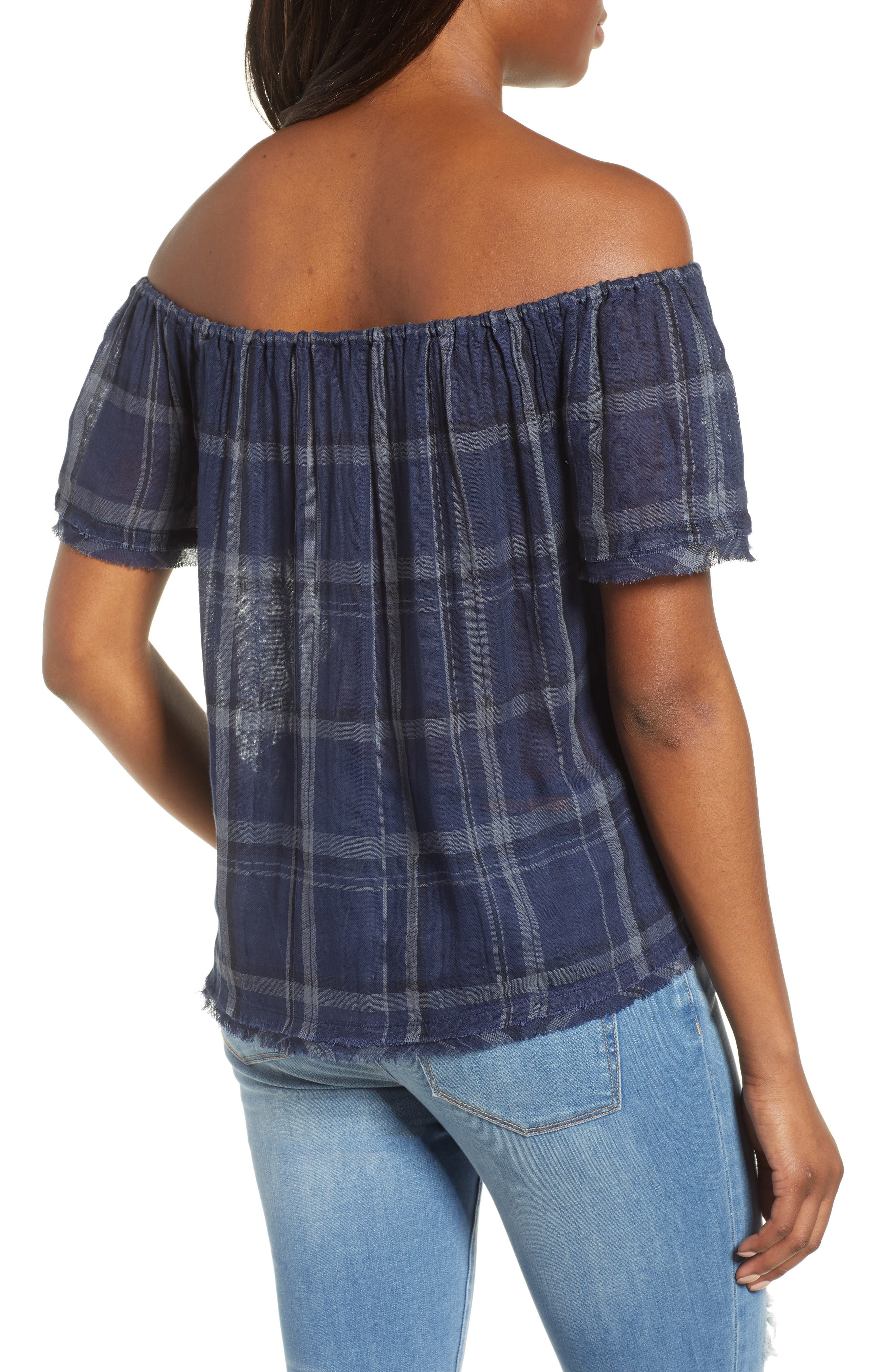 Off Shoulder Plaid Top,                             Alternate thumbnail 2, color,                             460