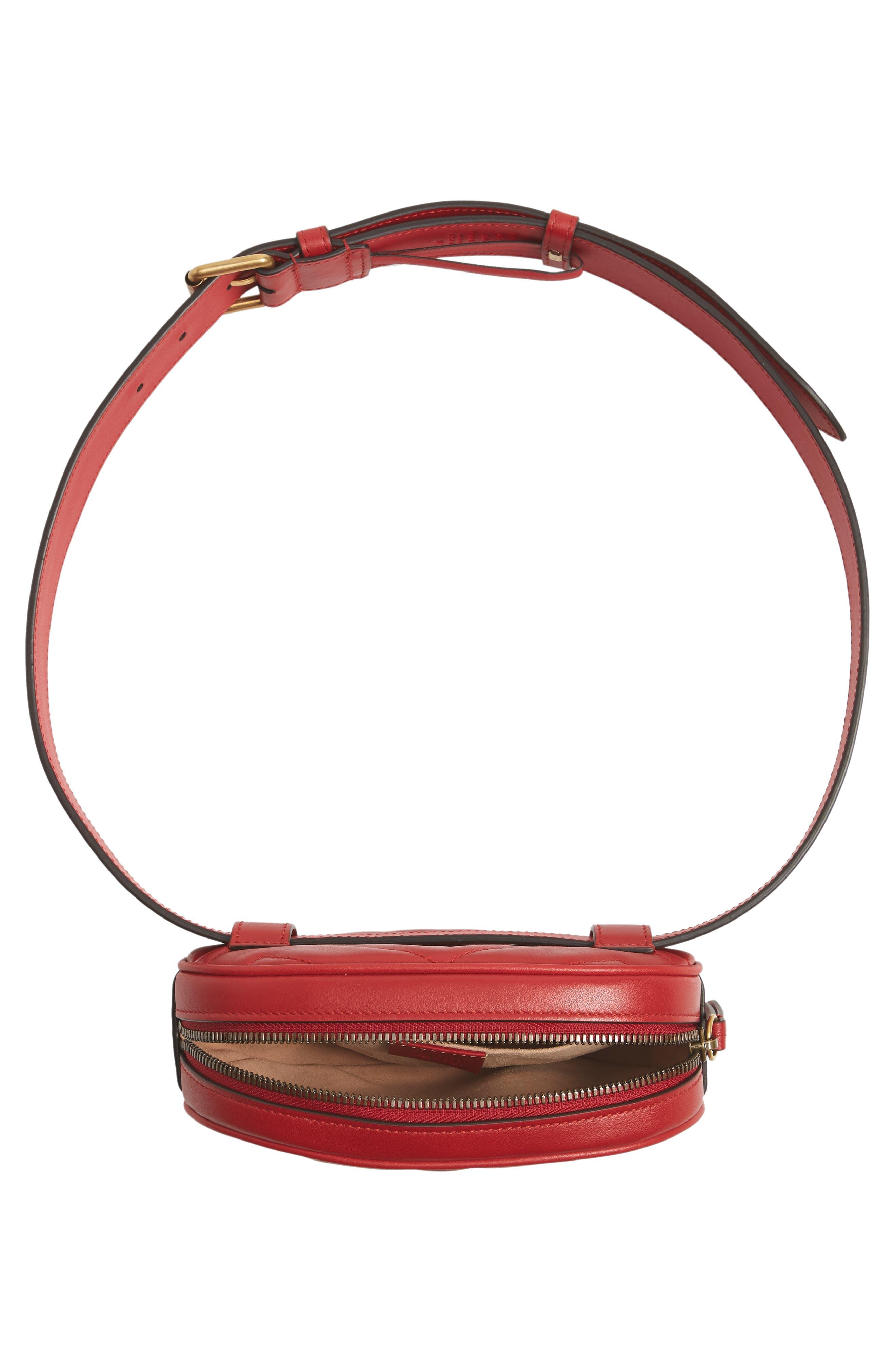GG Marmont Matelassé Leather Belt Bag,                             Alternate thumbnail 5, color,                             625