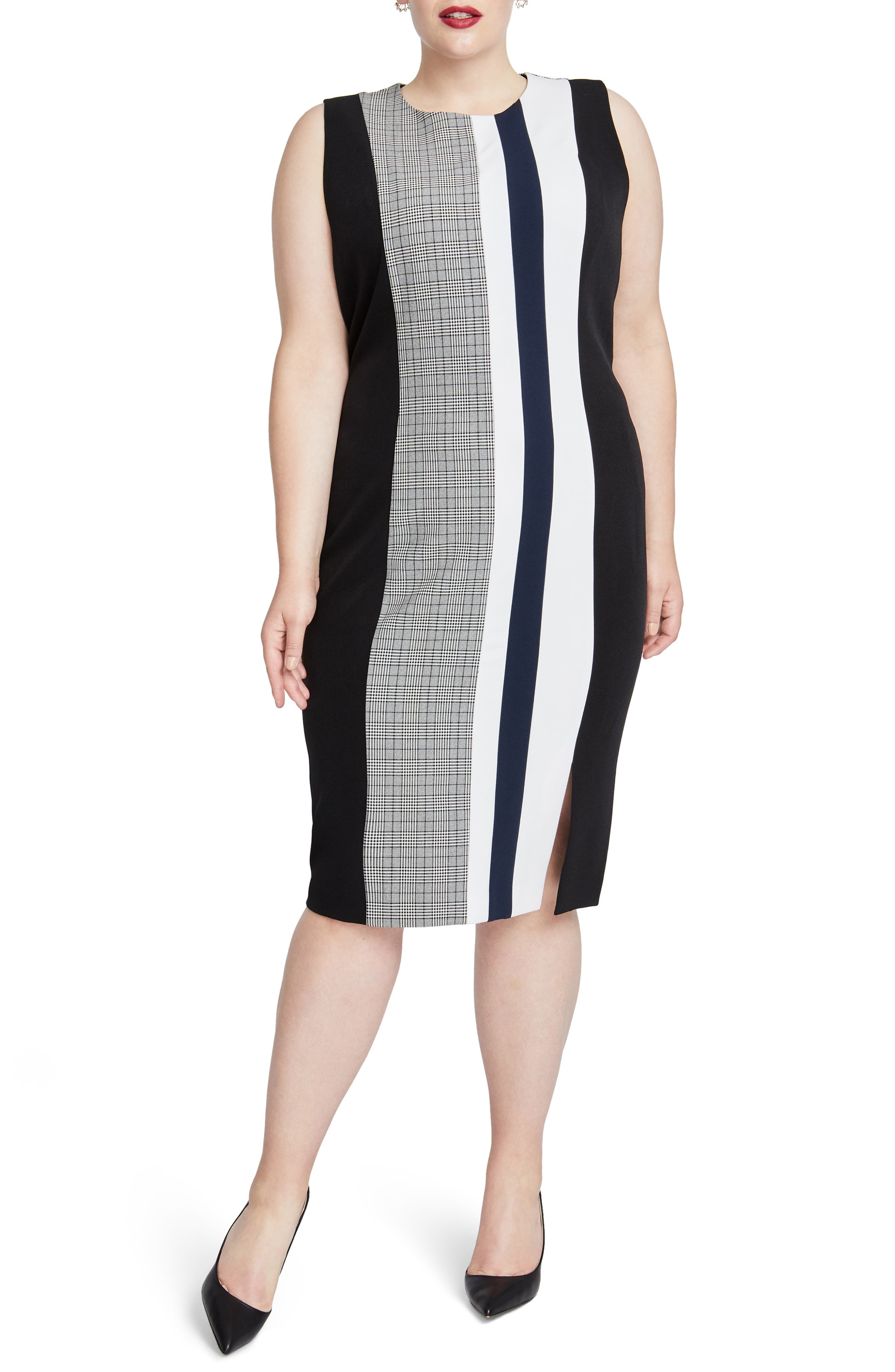 Plus Size Rachel Rachel Roy Hailey Stripe Sheath Dress, Black