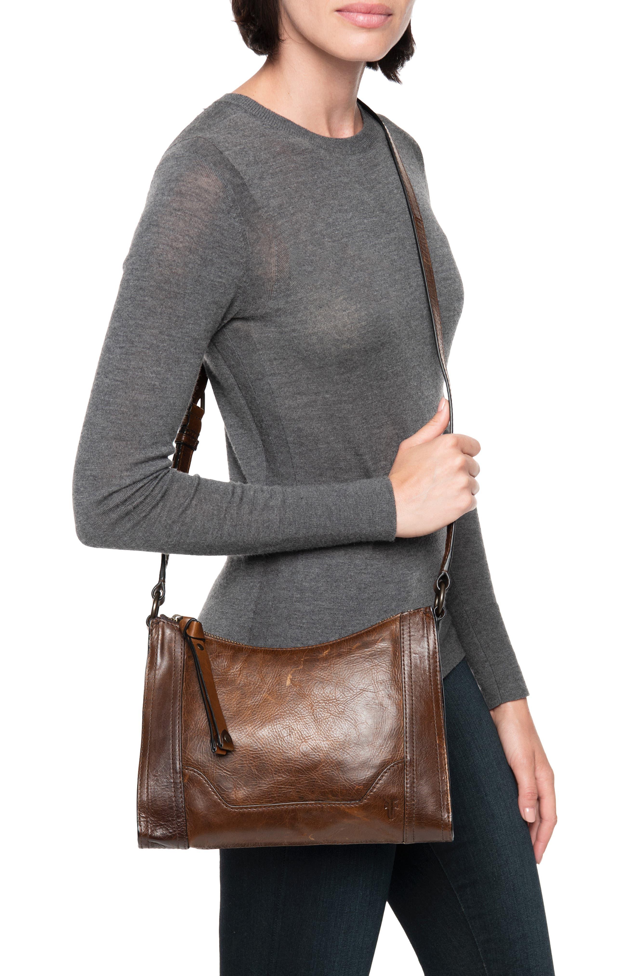 Melissa Leather Crossbody Bag,                             Alternate thumbnail 2, color,                             DARK BROWN