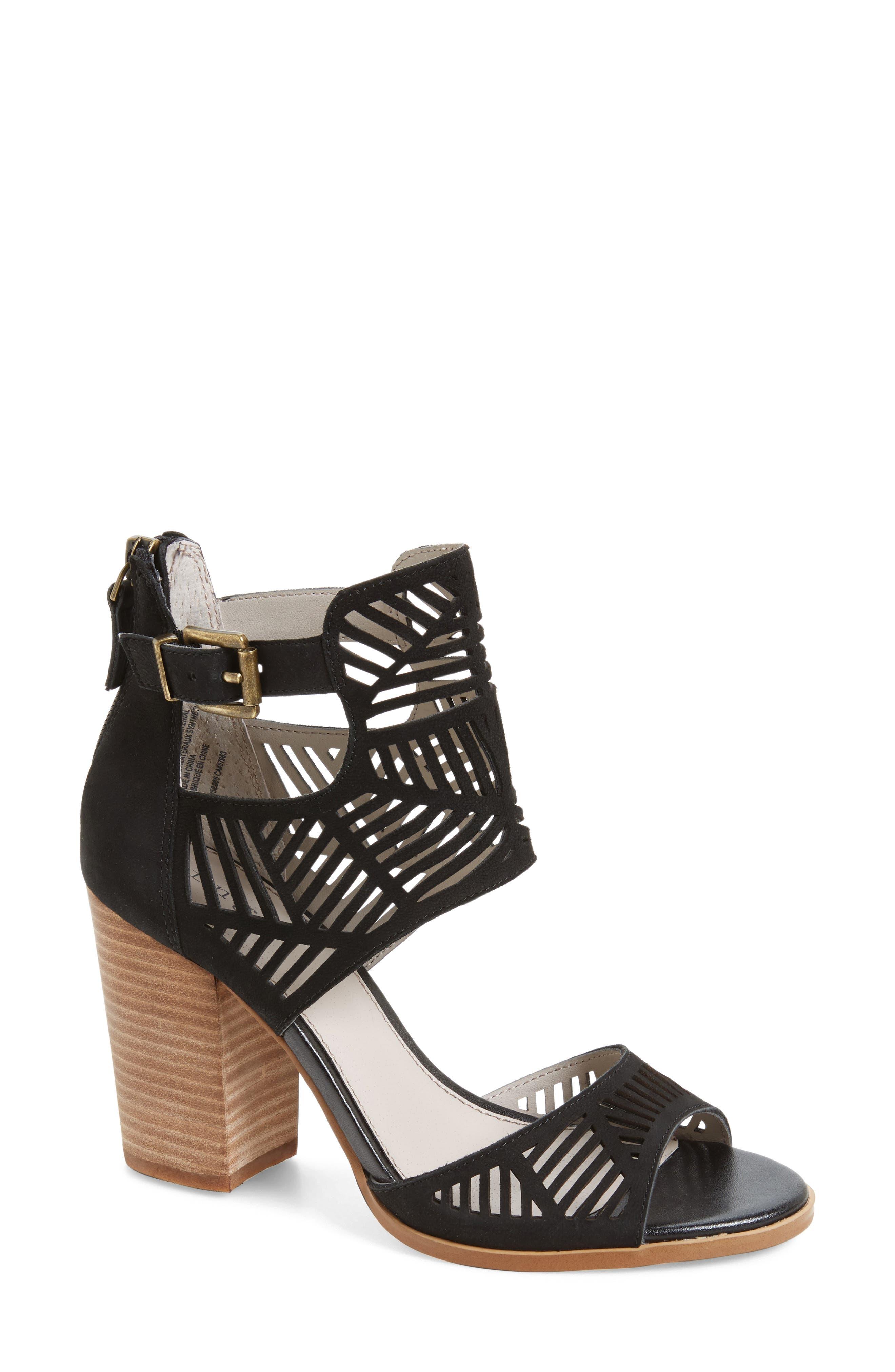 Drew Laser Cutout Sandal,                         Main,                         color, 001