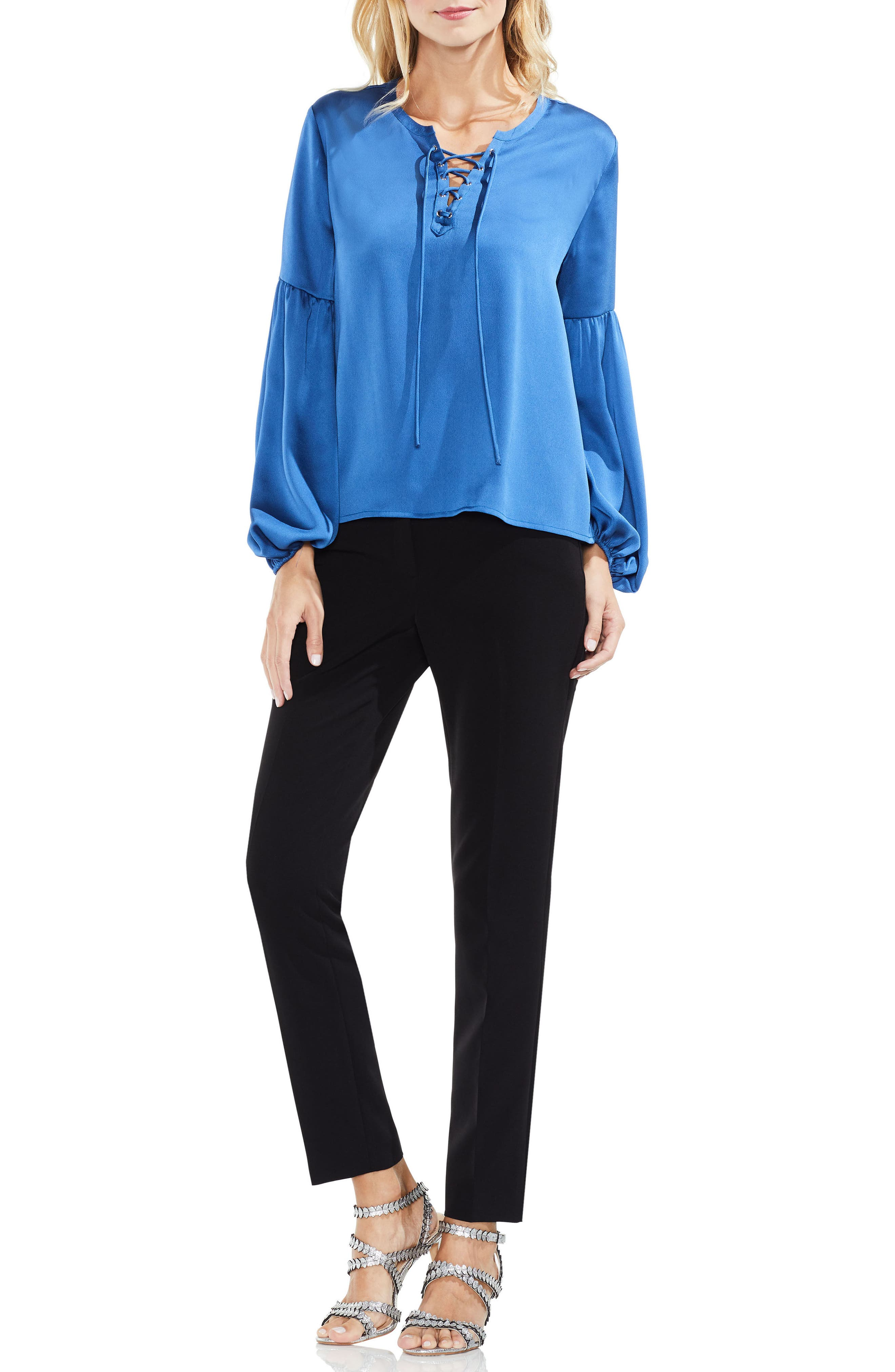 Lace-Up Hammered Satin Blouse,                             Alternate thumbnail 22, color,