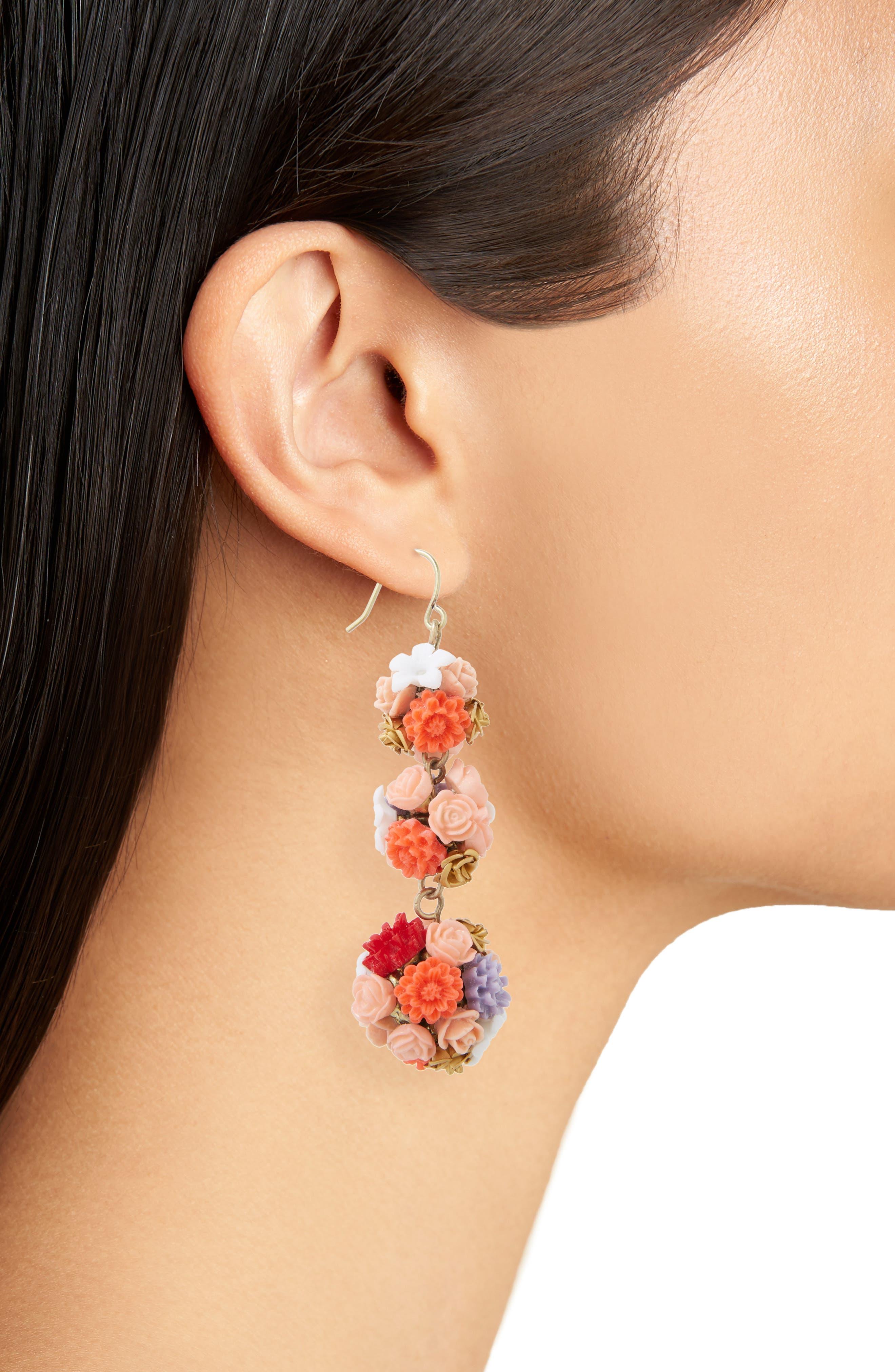Flora Drop Earrings,                             Alternate thumbnail 2, color,                             650