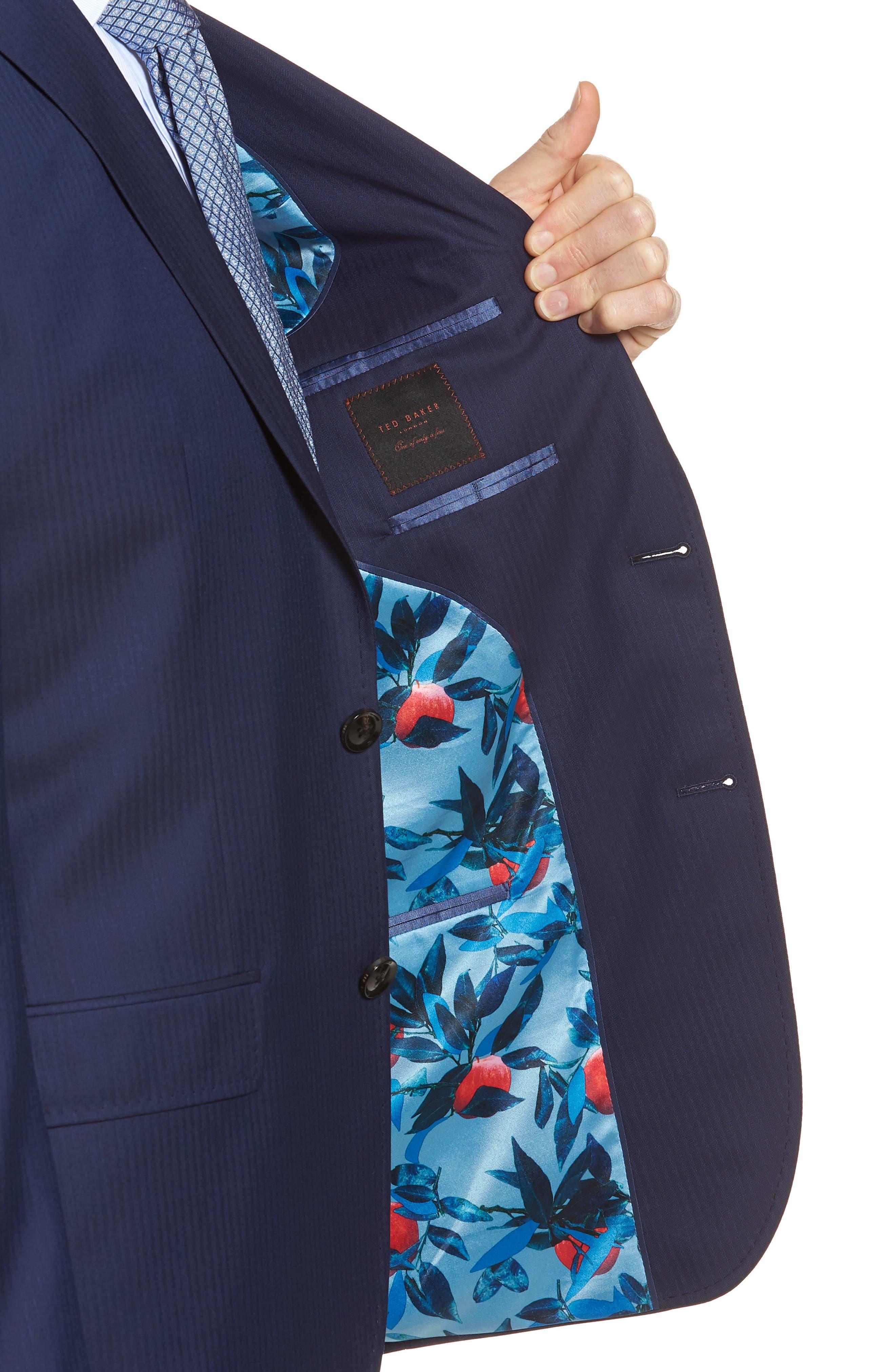 Jay Trim Fit Stripe Wool Suit,                             Alternate thumbnail 6, color,                             410