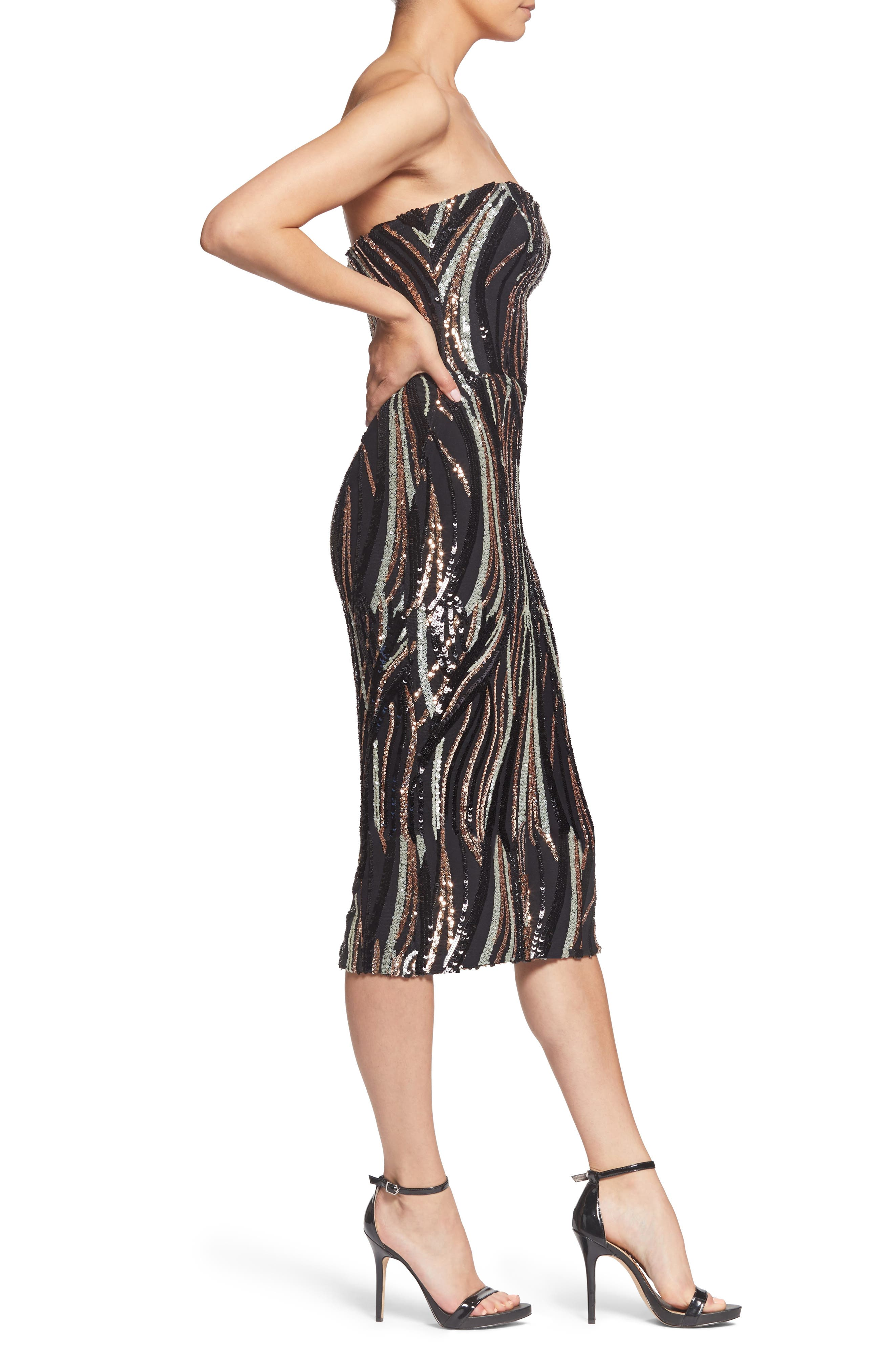 Claire Swirl Stripe Strapless Body-Con Dress,                             Alternate thumbnail 3, color,                             BLACK/ BRONZE/ BONE