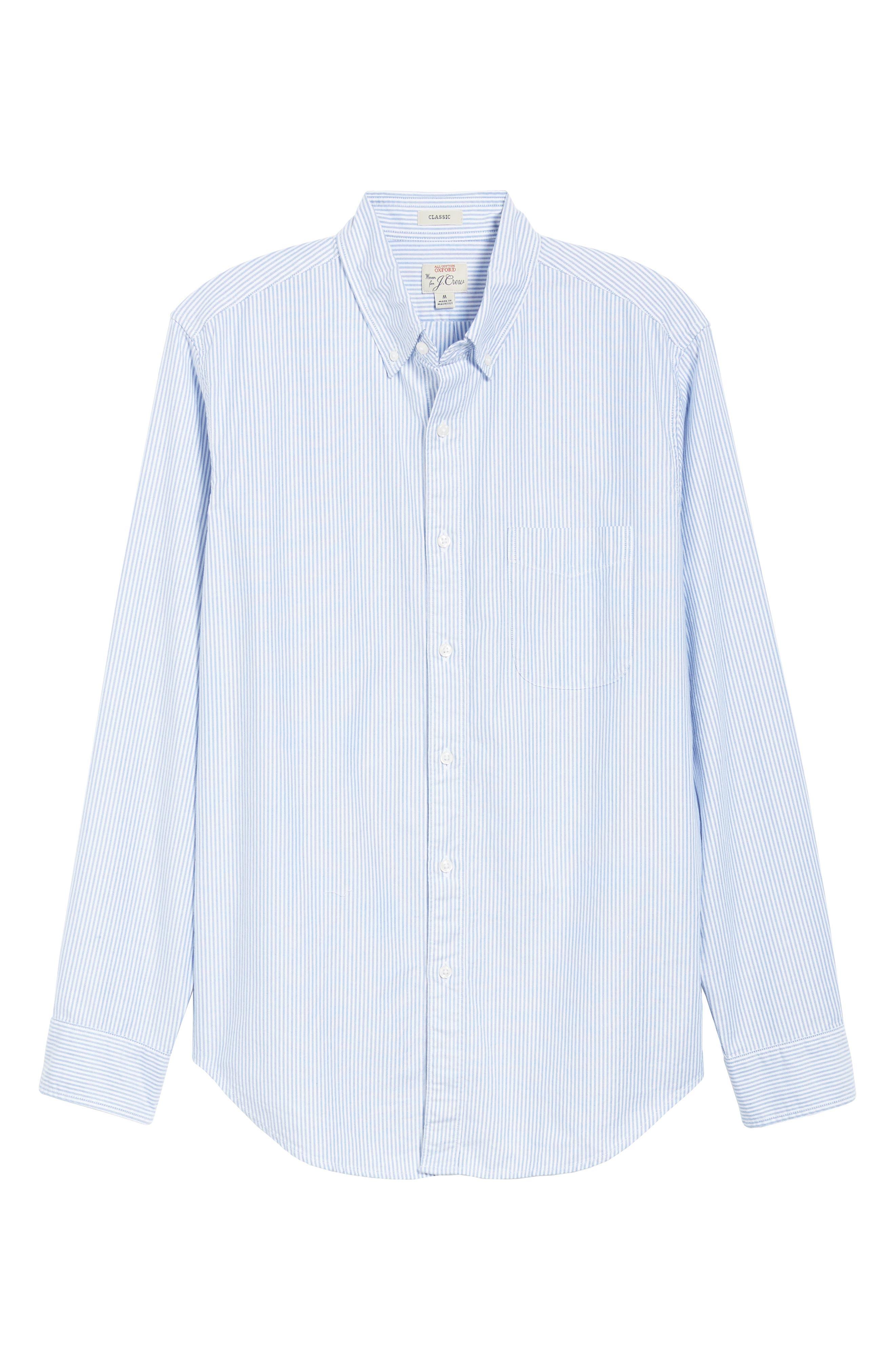 Stripe Pima Cotton Oxford Sport Shirt,                             Alternate thumbnail 5, color,                             RAINCOAT BLUE