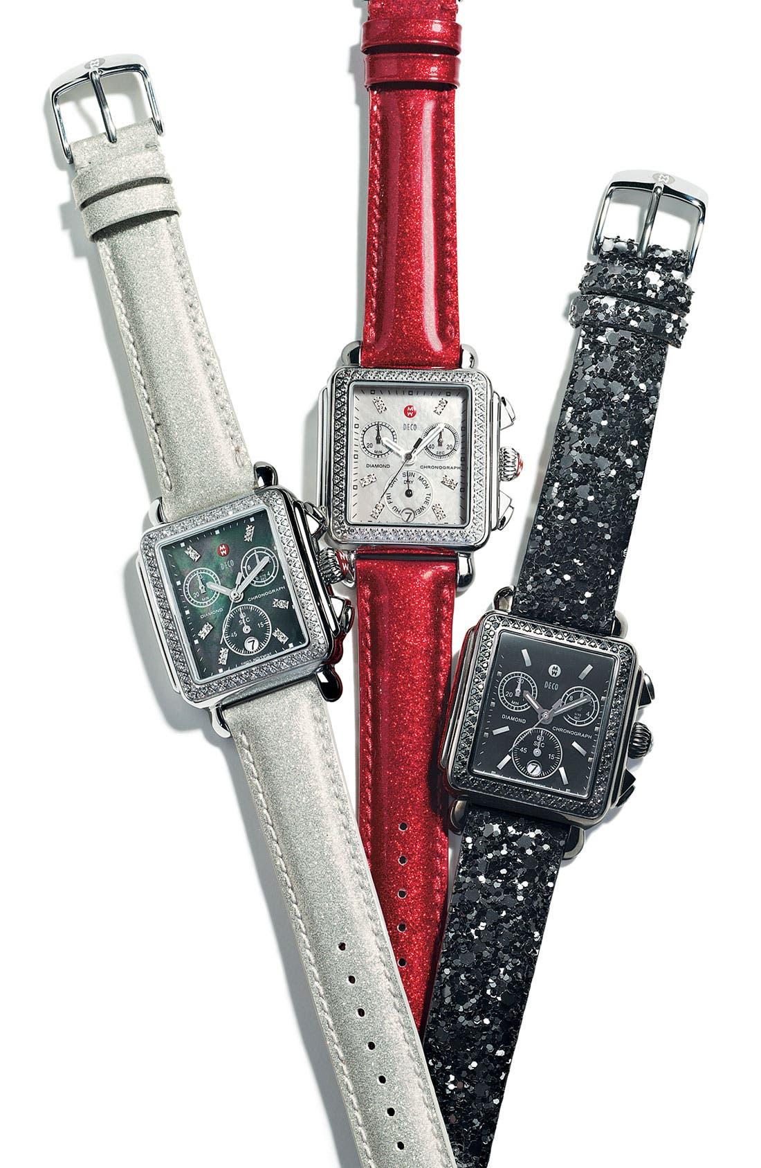 MICHELE 'Deco Noir' Diamond Customizable Watch,                             Alternate thumbnail 3, color,                             001