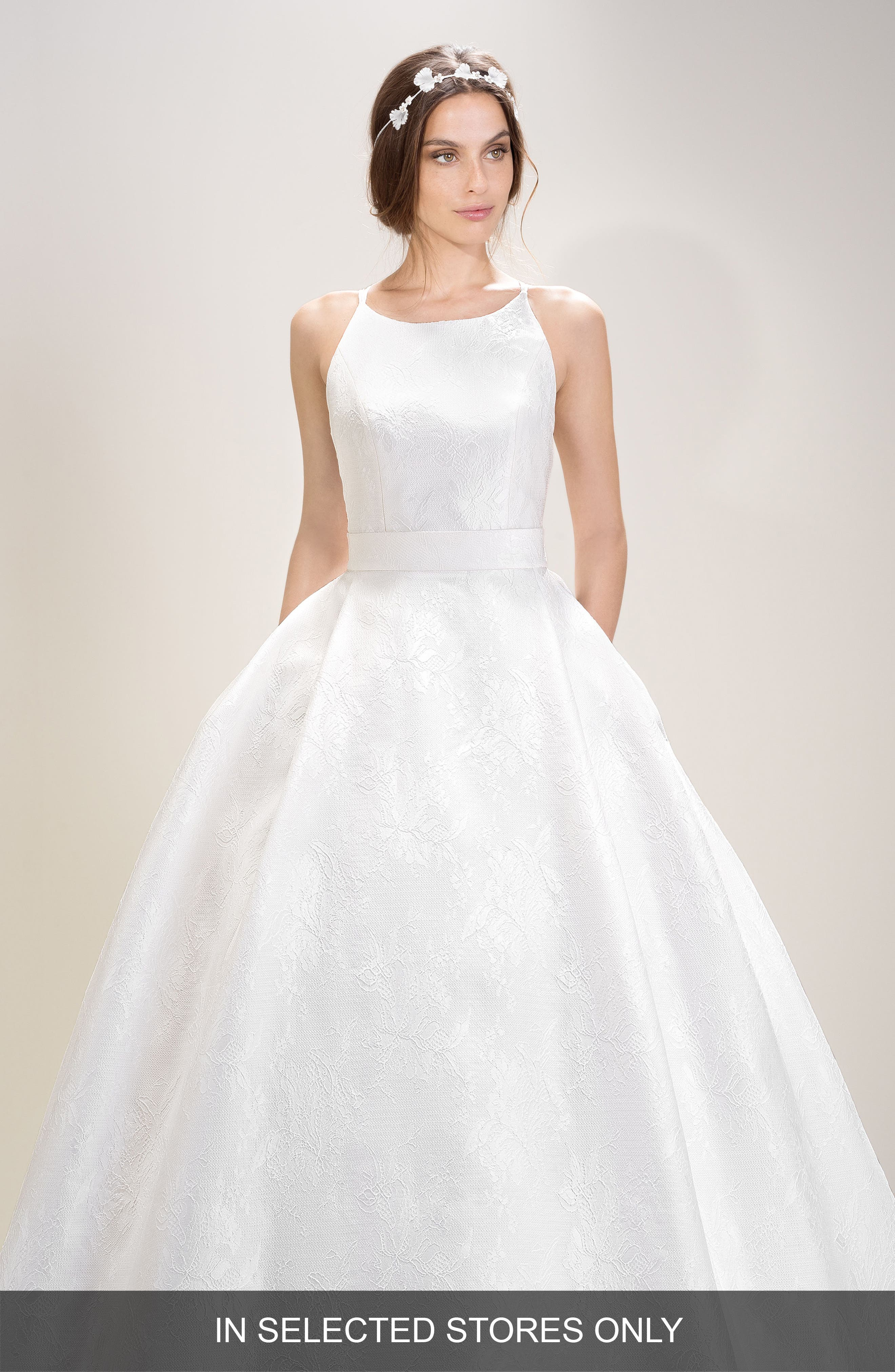 Halter Organza Gown,                         Main,                         color, IVORY