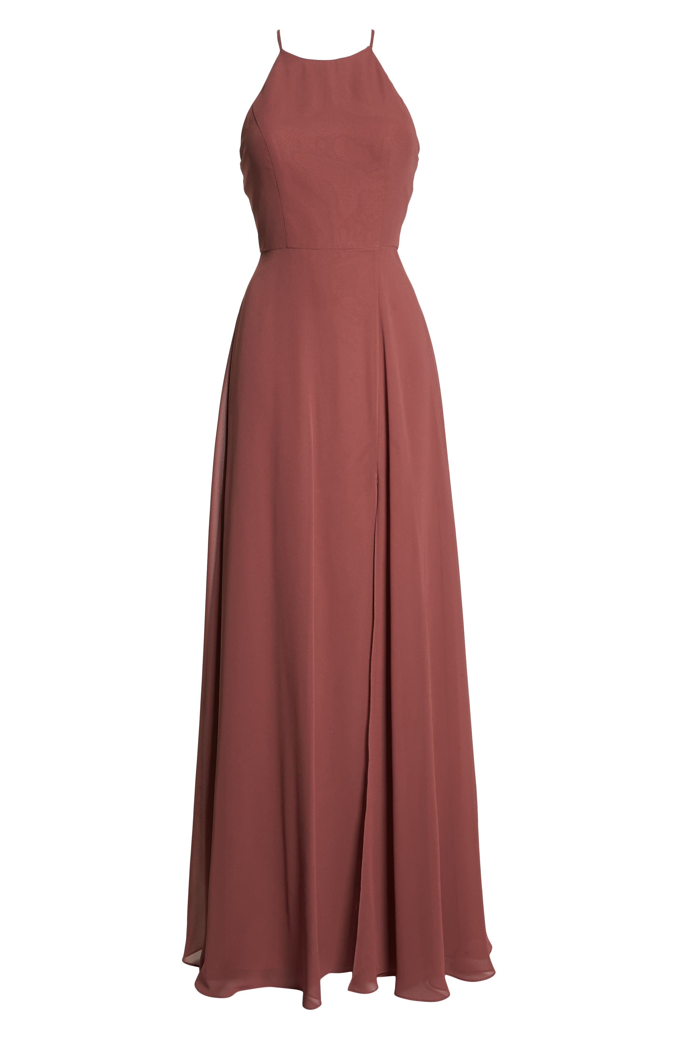 Kayla A-Line Halter Gown,                             Alternate thumbnail 7, color,                             CINNAMON ROSE
