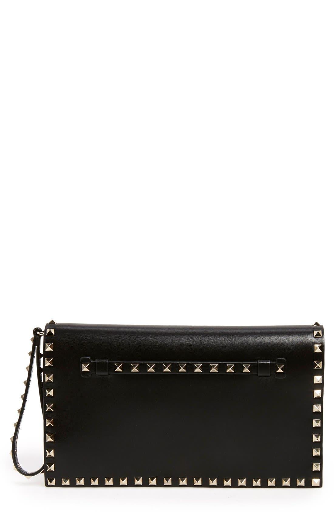 'Rockstud' Leather Flap Clutch,                             Main thumbnail 1, color,                             BLACK