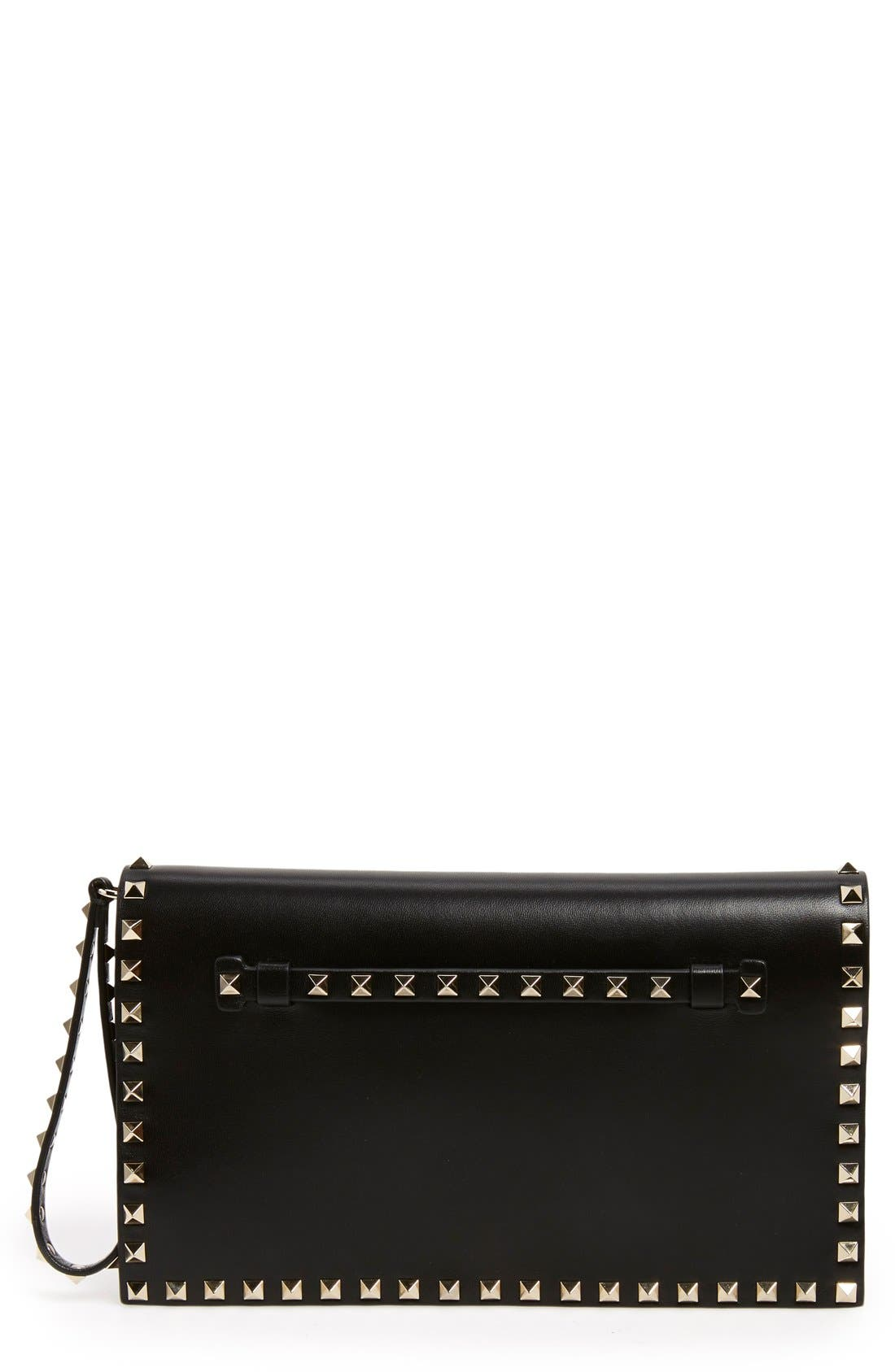 Rockstud Leather Flap Clutch,                         Main,                         color, BLACK