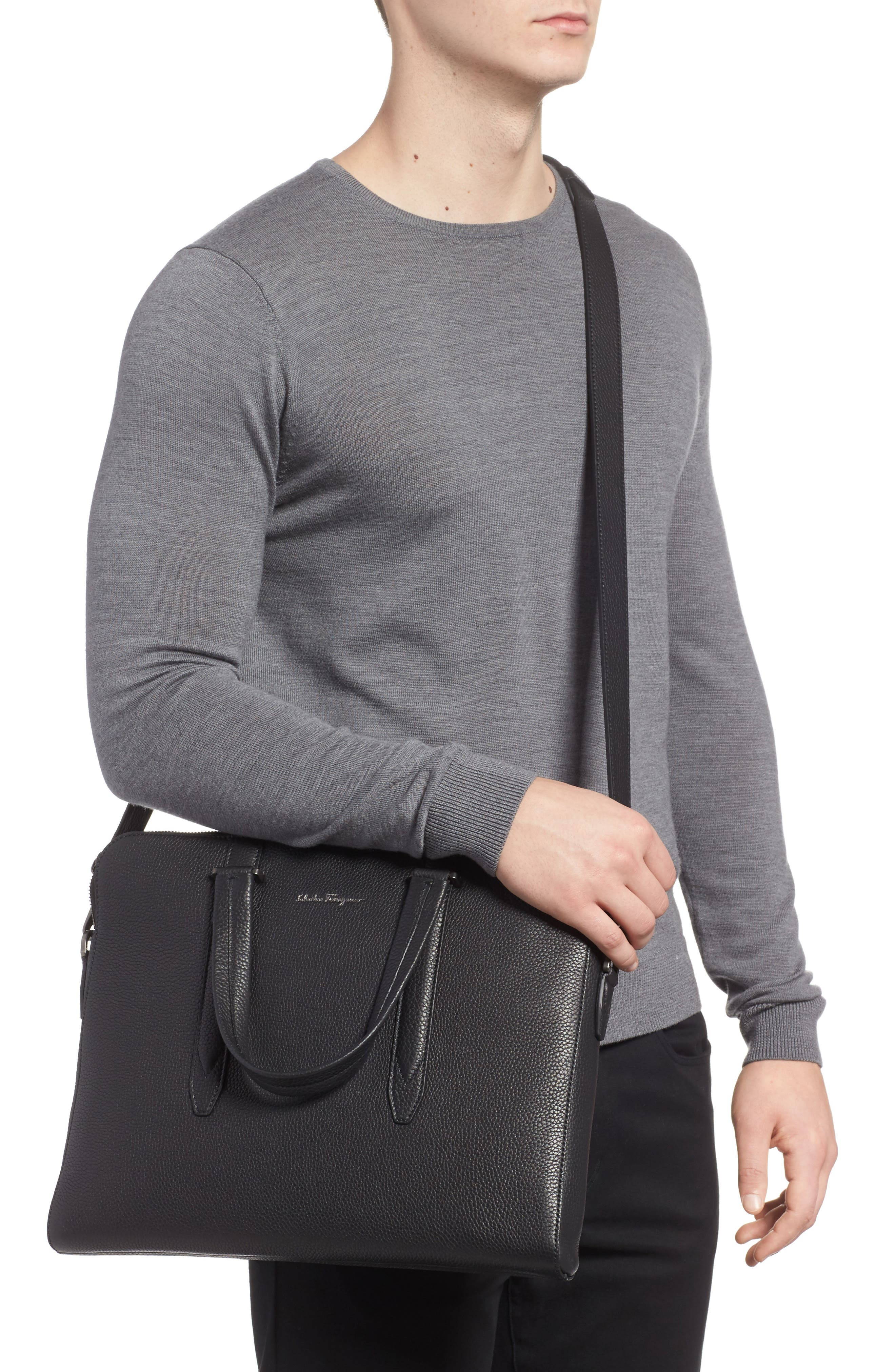 Firenze Leather Briefcase,                             Alternate thumbnail 2, color,                             BLACK