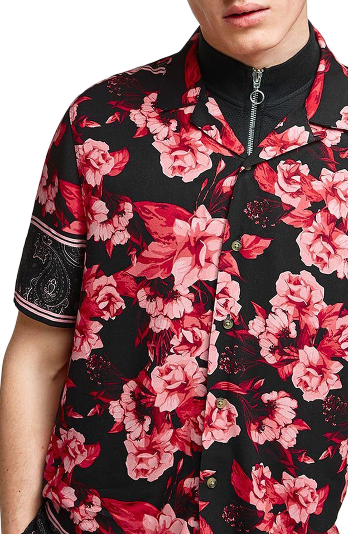 TOPMAN,                             Floral Print Shirt,                             Main thumbnail 1, color,                             640
