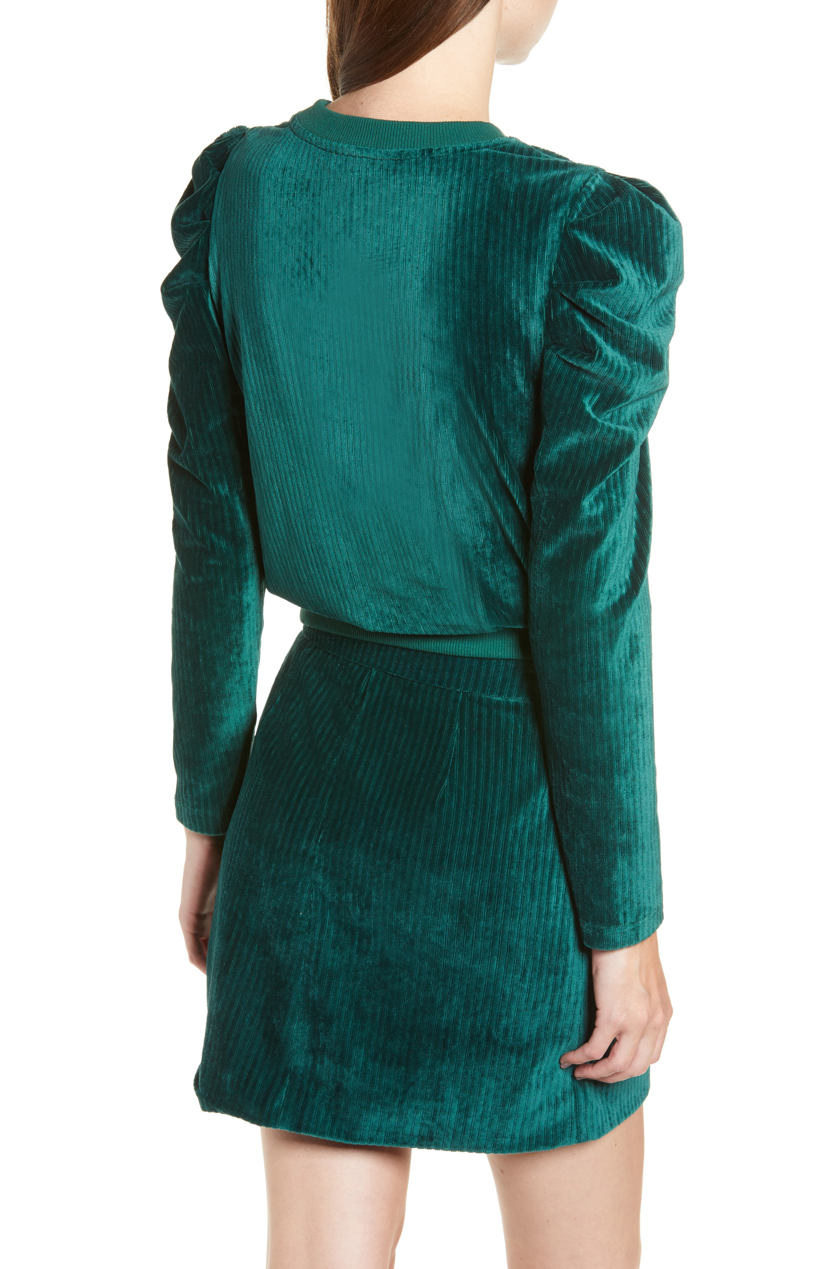 Velour Puff Sleeve Sweatshirt,                             Alternate thumbnail 2, color,                             PINE