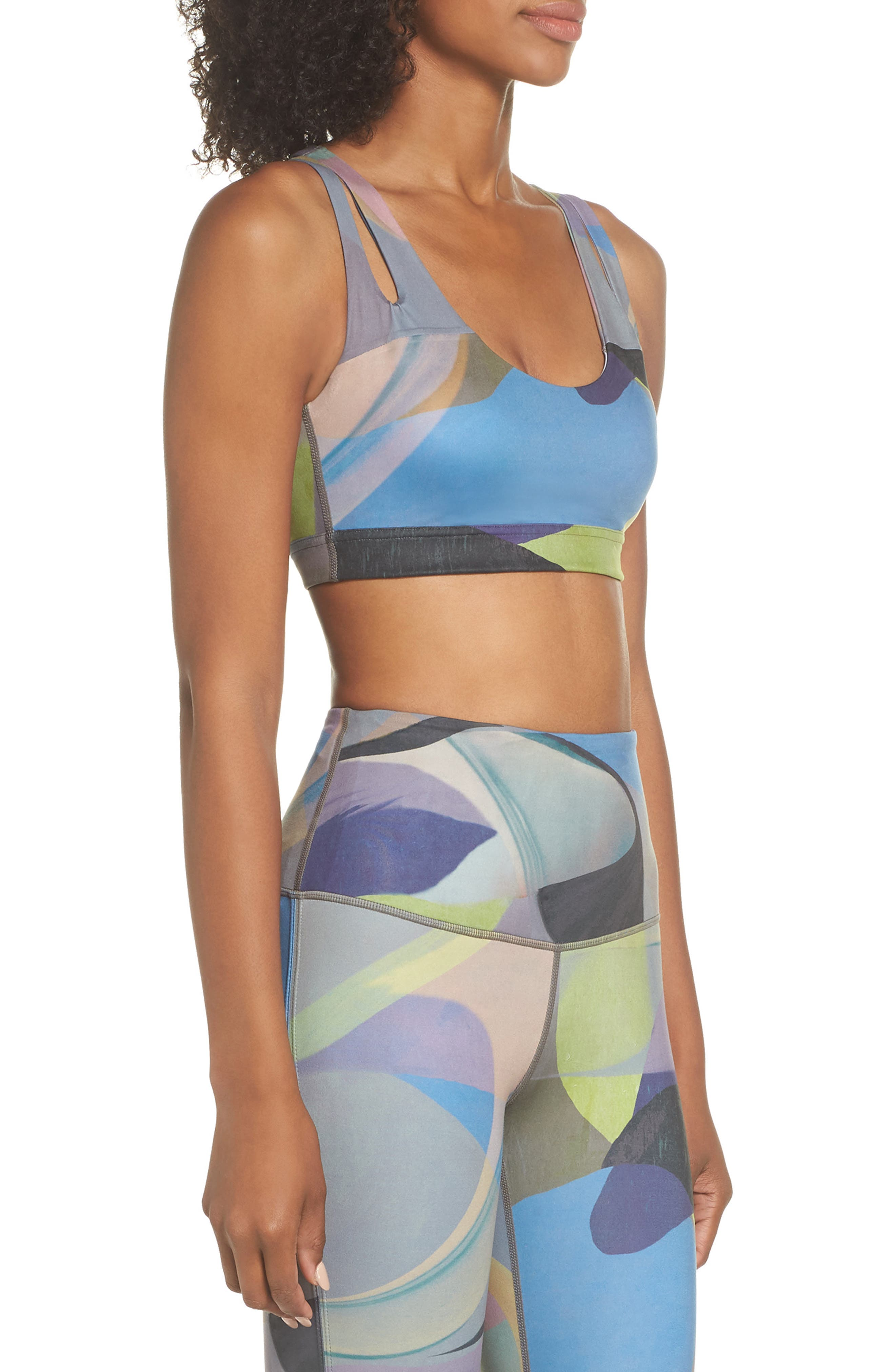 Lita Recycled Dual Strap Sports Bralette,                             Alternate thumbnail 3, color,                             GREY URBAN ABSTRACT BOTANICAL