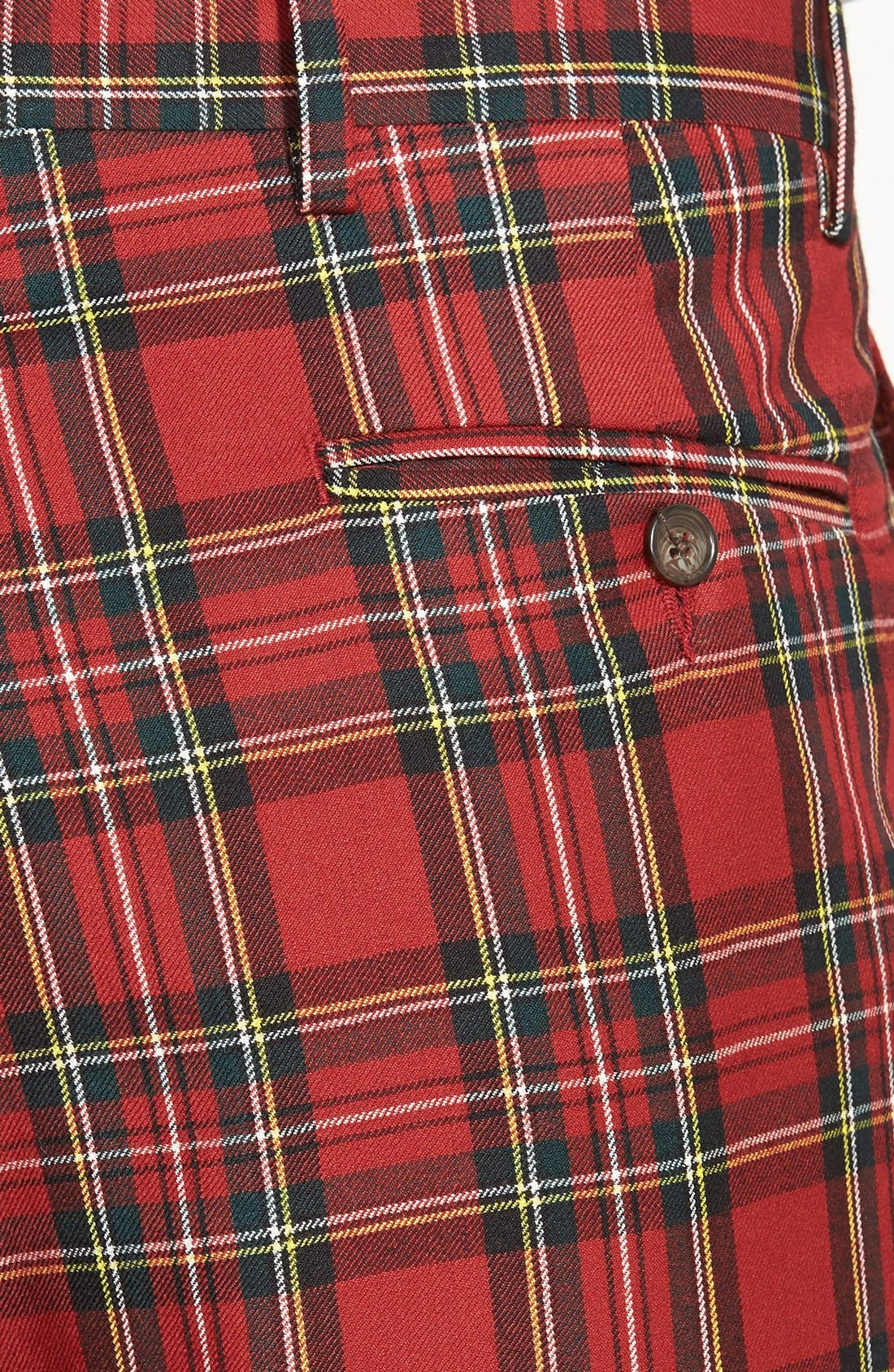 Pleated Plaid Wool Trousers,                             Alternate thumbnail 2, color,                             RED