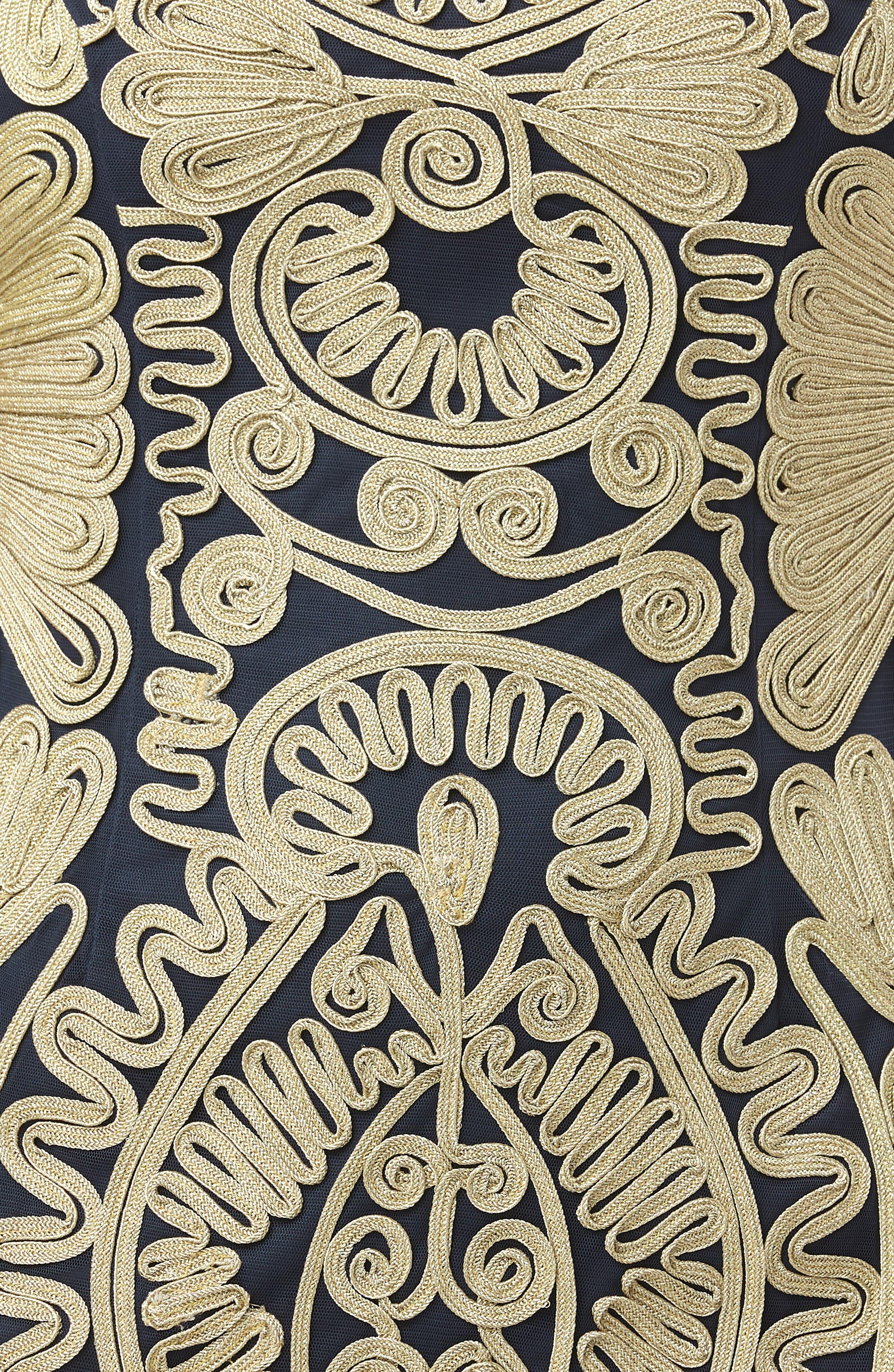 Soutache Dress,                             Alternate thumbnail 4, color,                             GOLD/ NAVY