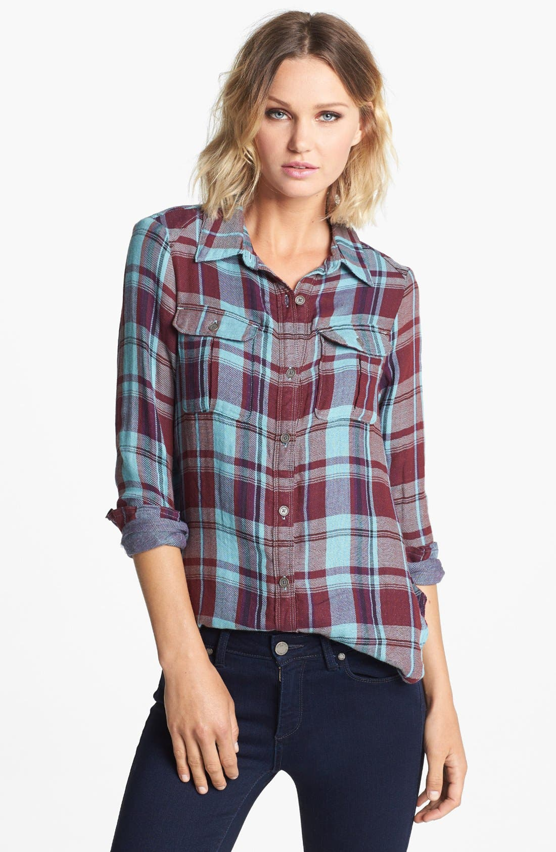 Denim 'Kadie' Plaid Shirt,                         Main,                         color, 600