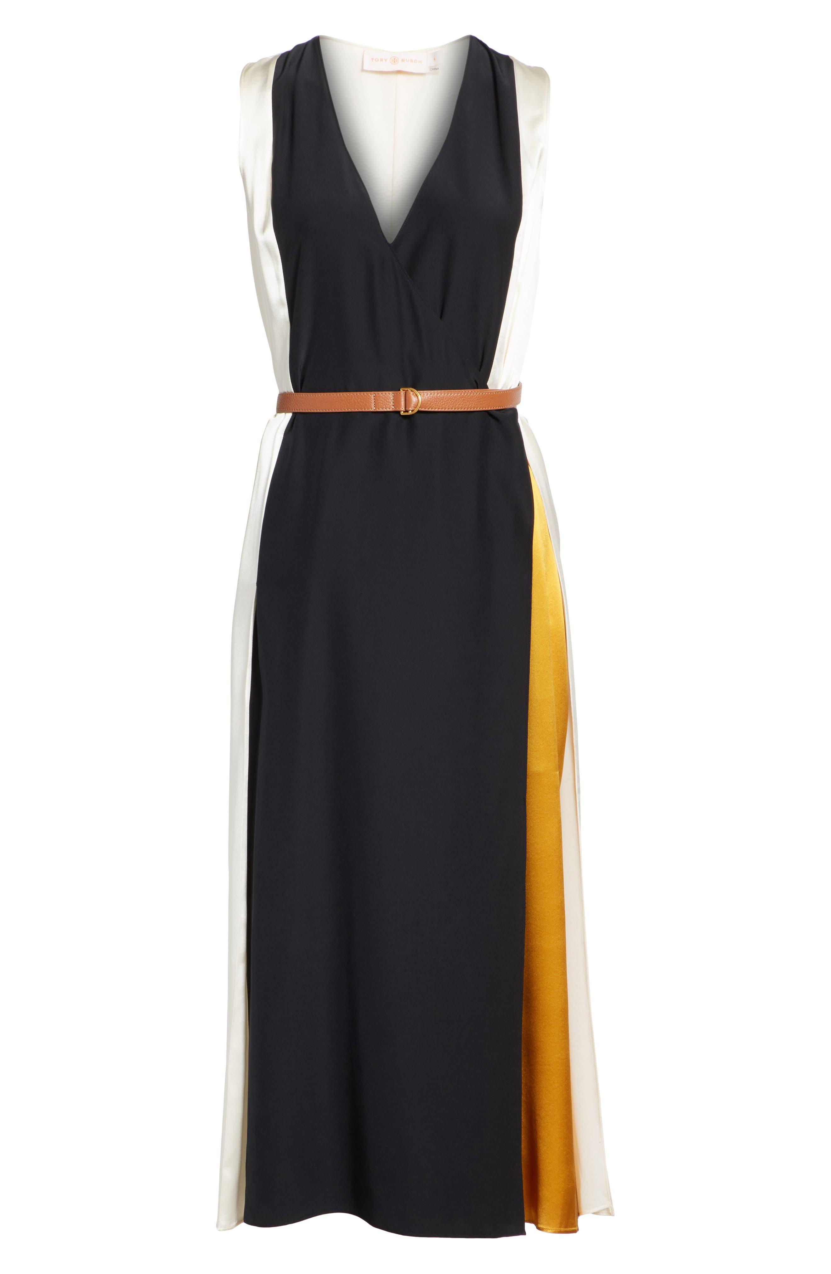 Clarice Colorblock Silk Wrap Dress,                             Alternate thumbnail 6, color,                             001