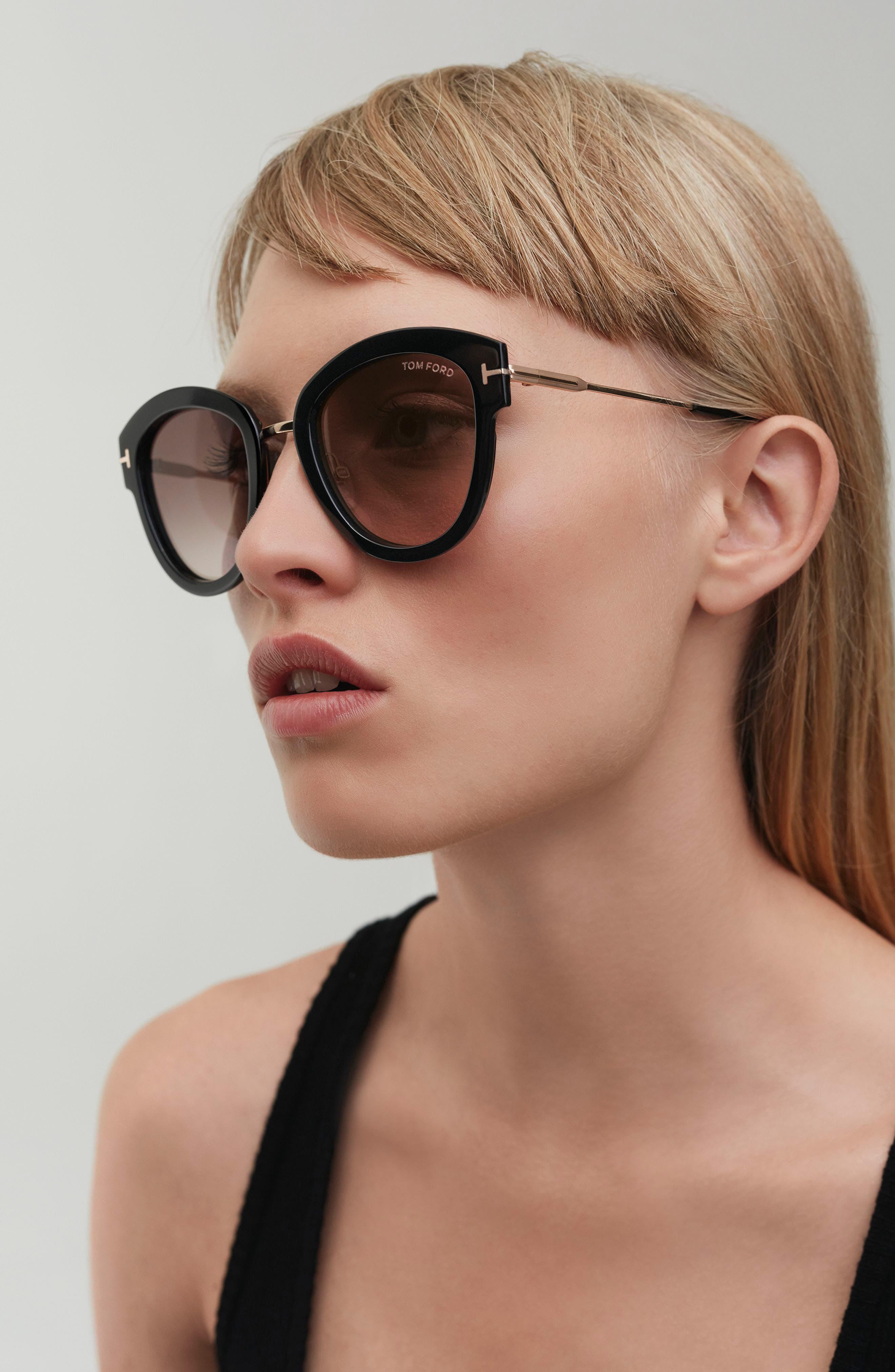 Mia 55mm Cat Eye Sunglasses,                             Alternate thumbnail 4, color,                             BLACK ACETATE/ ROSE GOLD