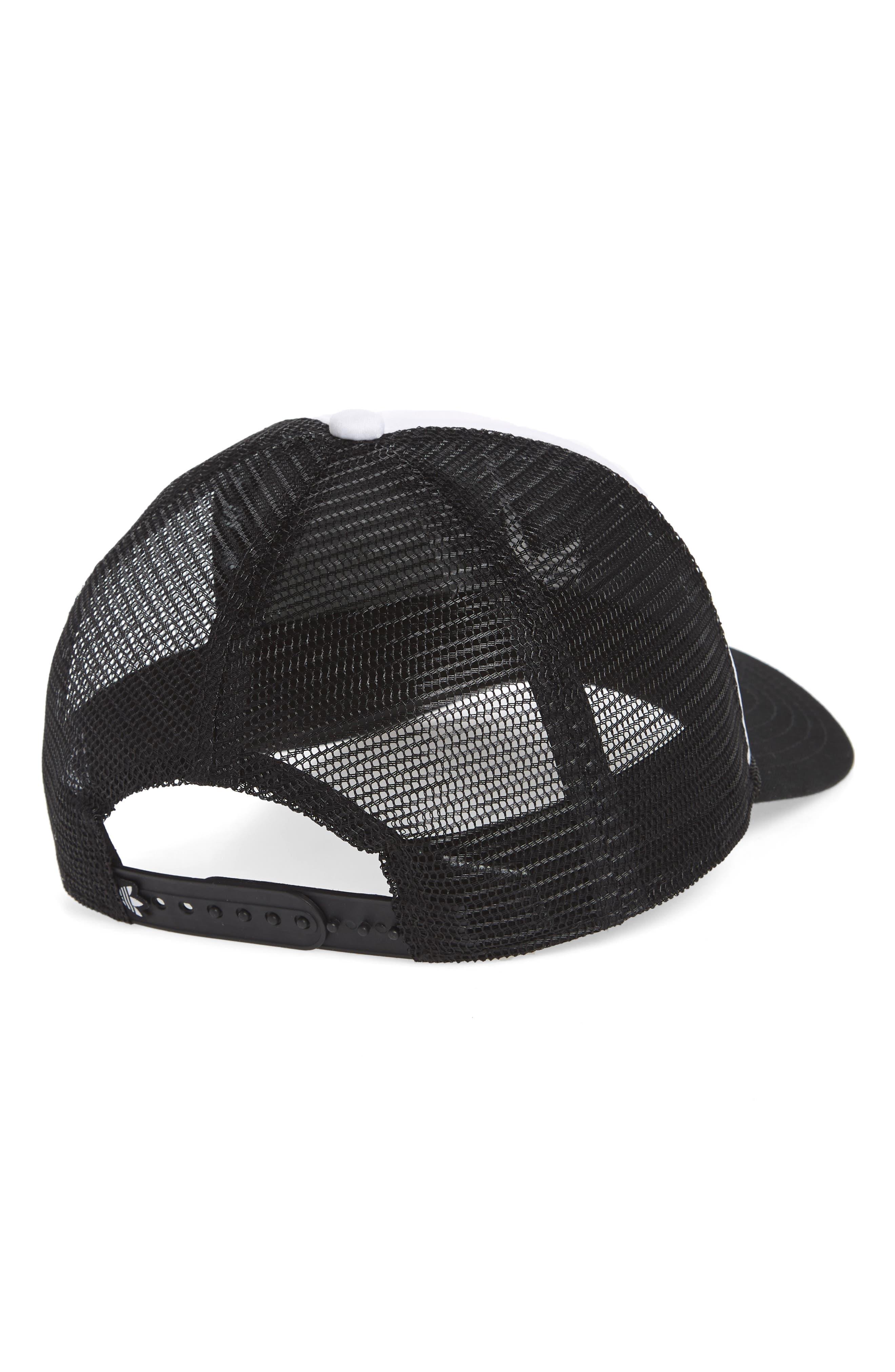 Trefoil Mesh Trucker Hat,                             Alternate thumbnail 2, color,                             WHITE/ BLACK