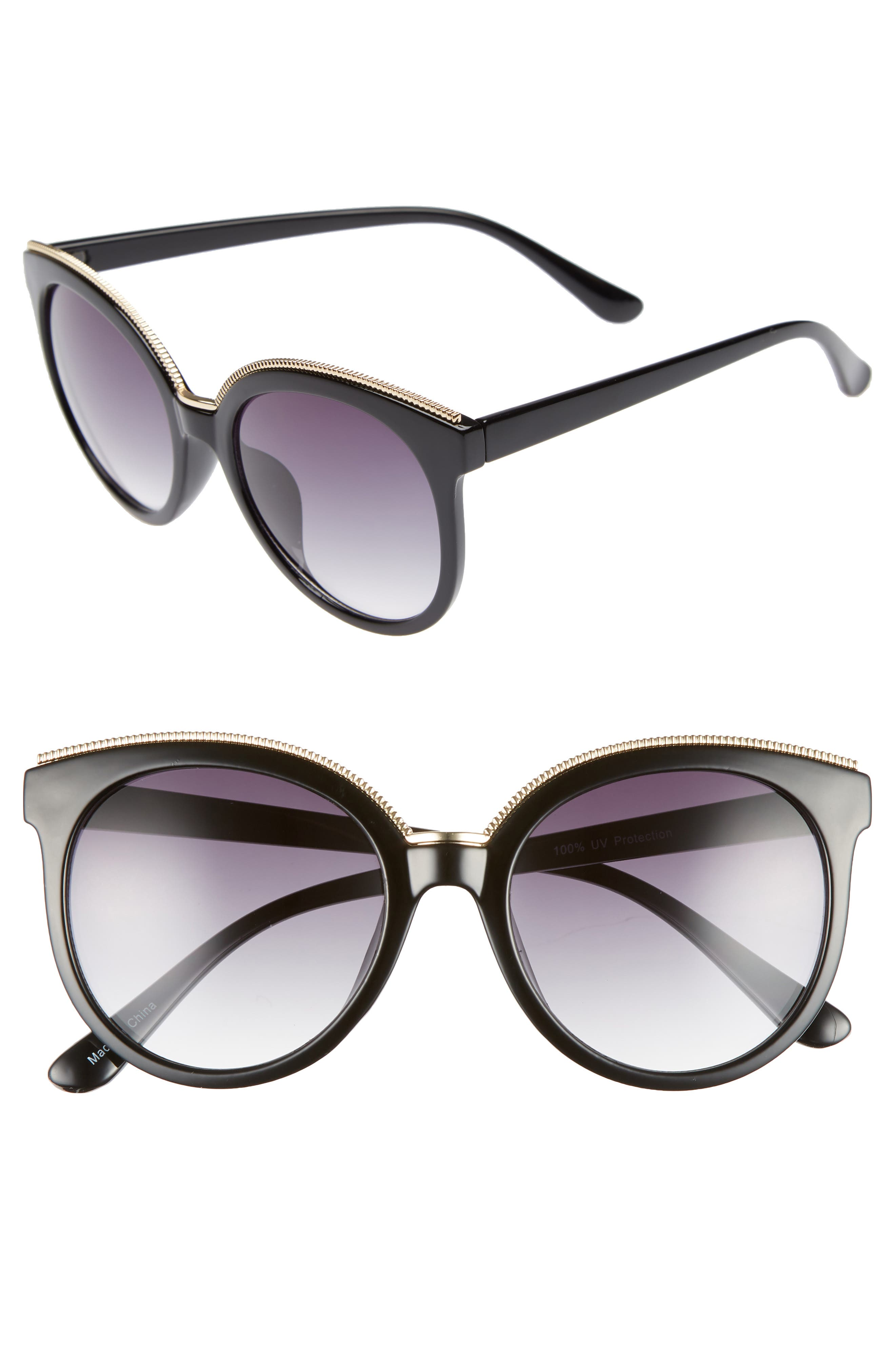 56mm Metal Trim Round Sunglasses,                             Main thumbnail 1, color,                             001
