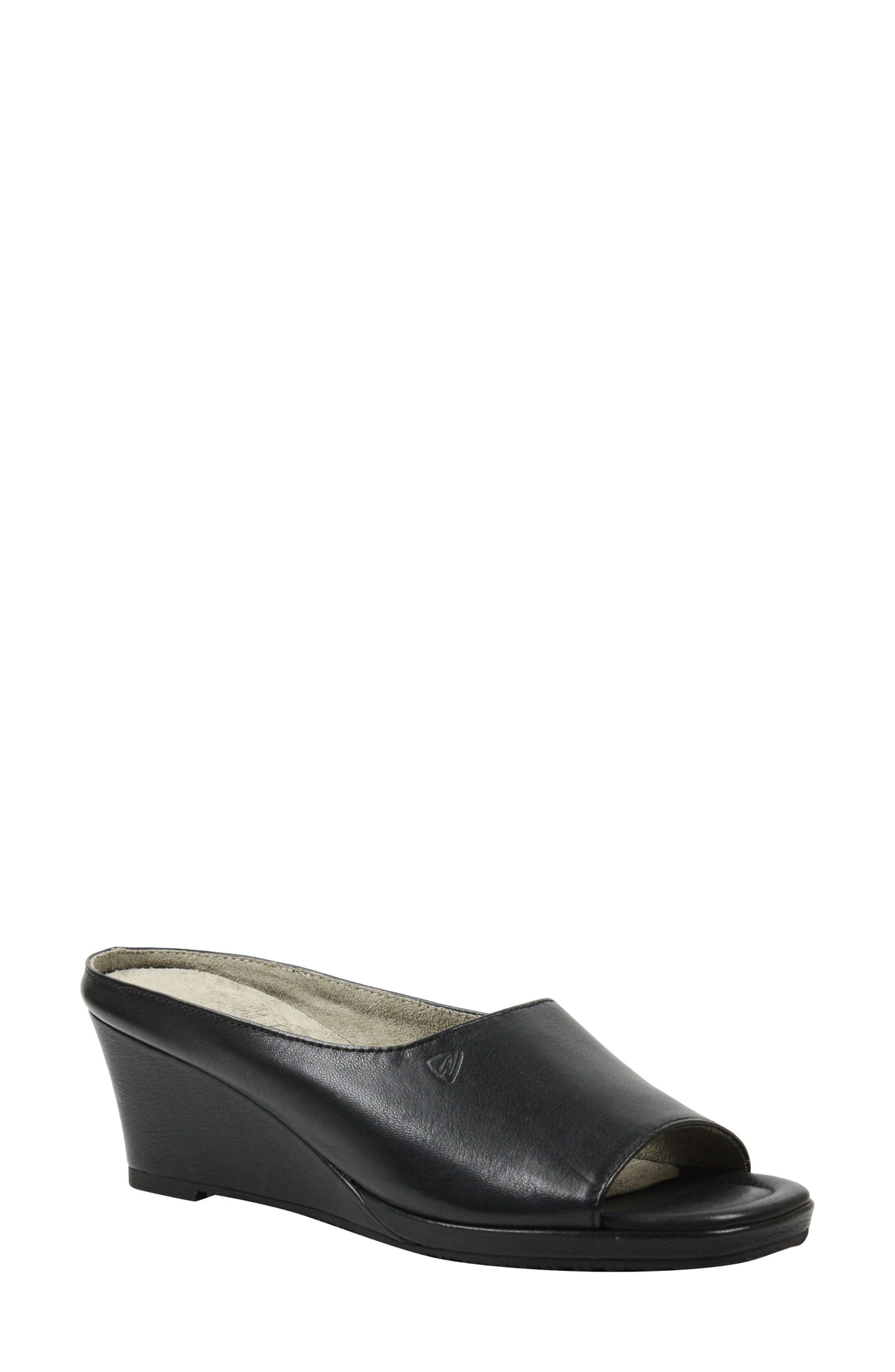Abrielle Wedge Mule,                         Main,                         color, BLACK LEATHER