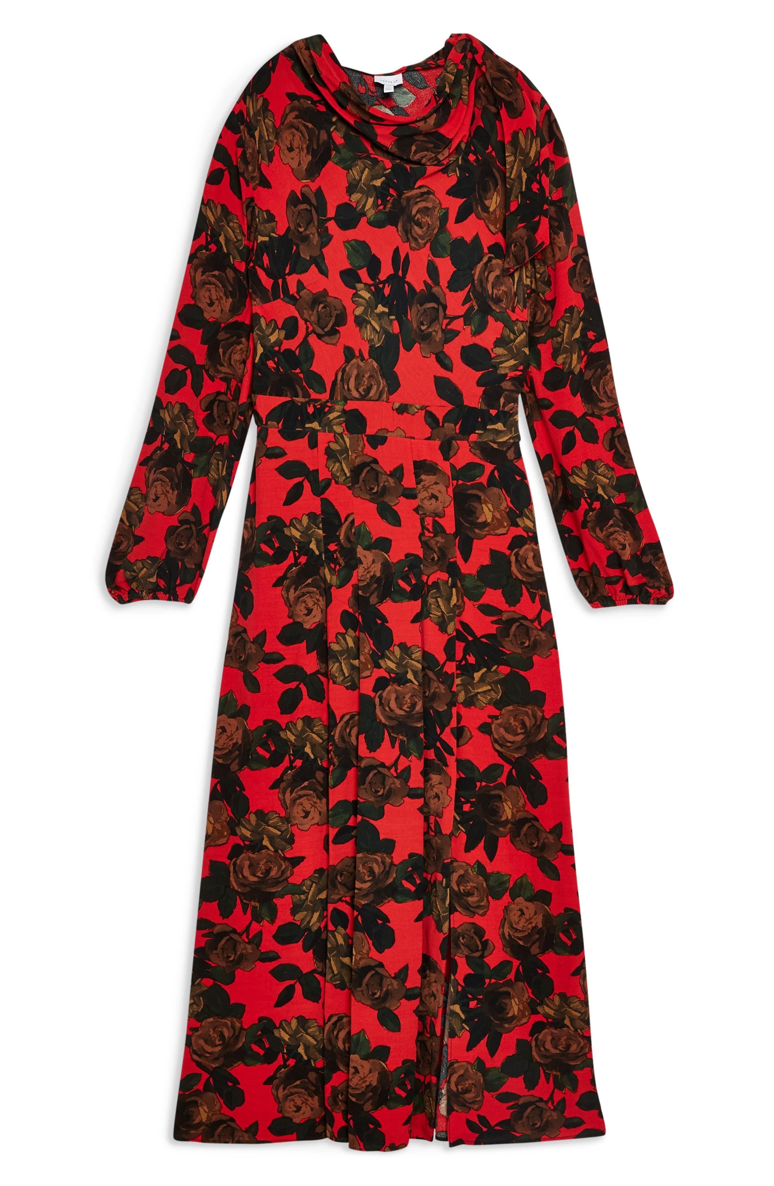 TOPSHOP,                             Rose Cut Tie Neck Midi Dress,                             Alternate thumbnail 6, color,                             RED MULTI