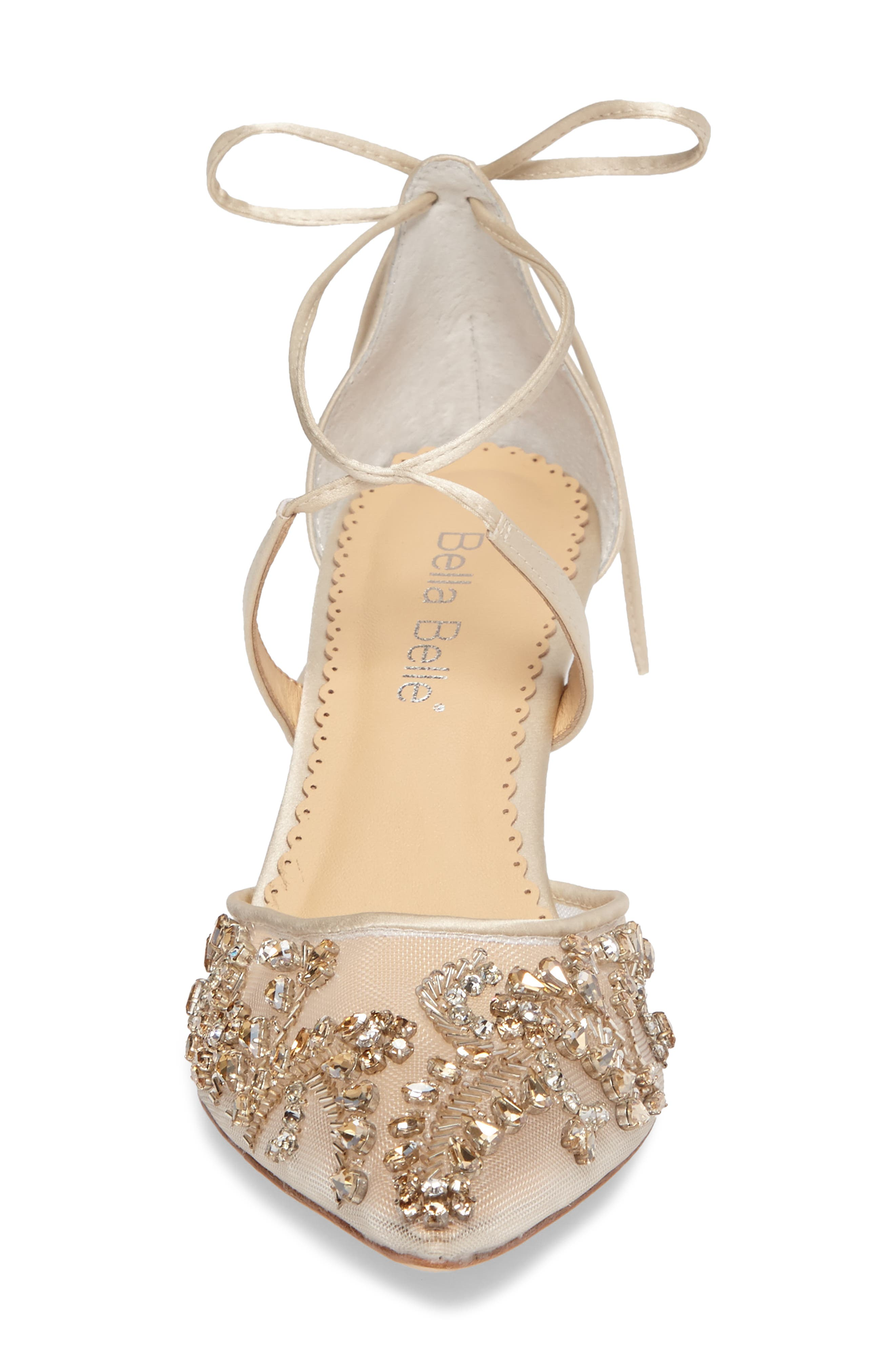 Frances Embellished Kitten Heel Pump,                             Alternate thumbnail 4, color,                             CHAMPAGNE SILK