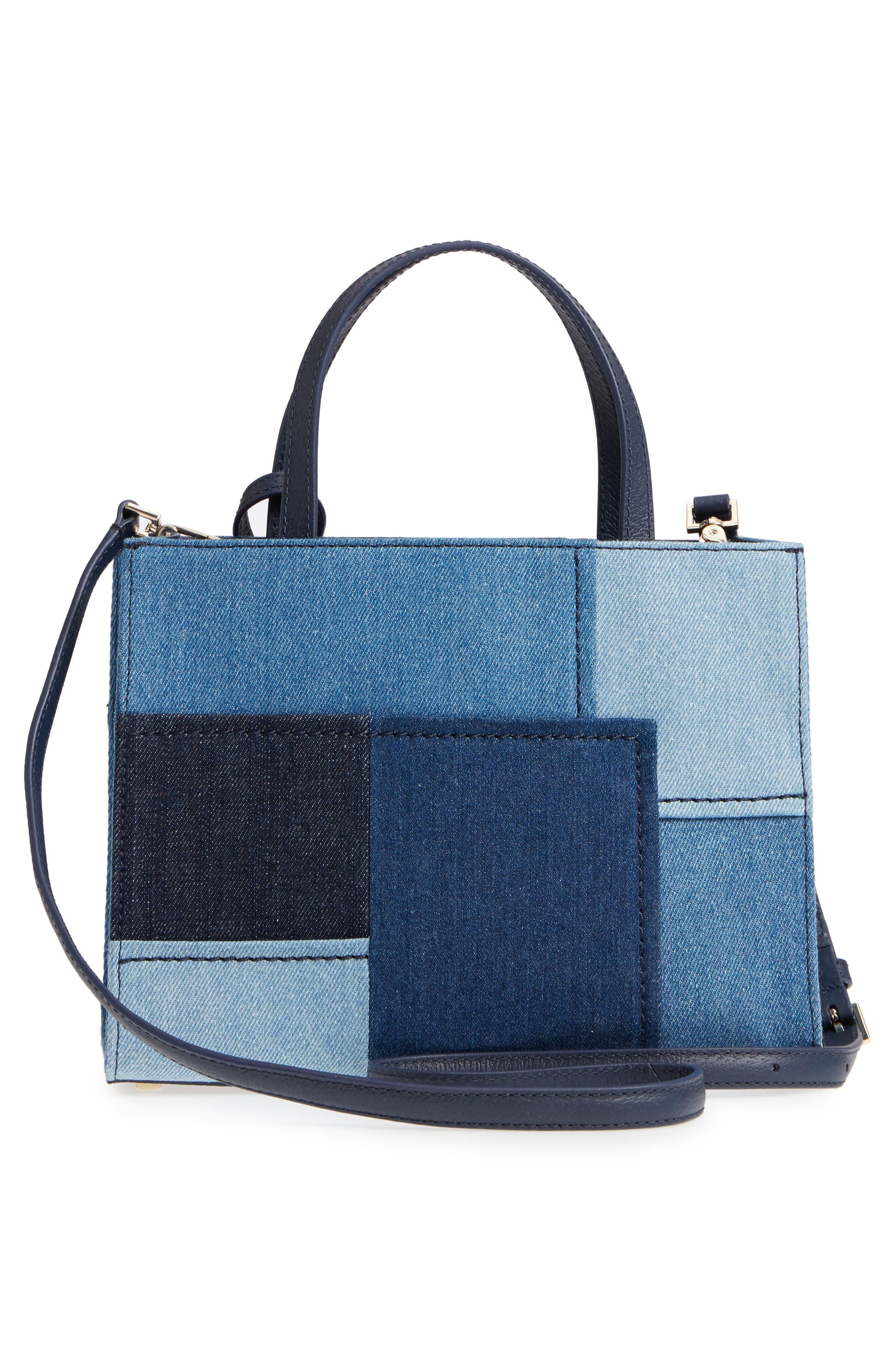 thompson street - sam patchwork denim handbag,                             Alternate thumbnail 3, color,                             400