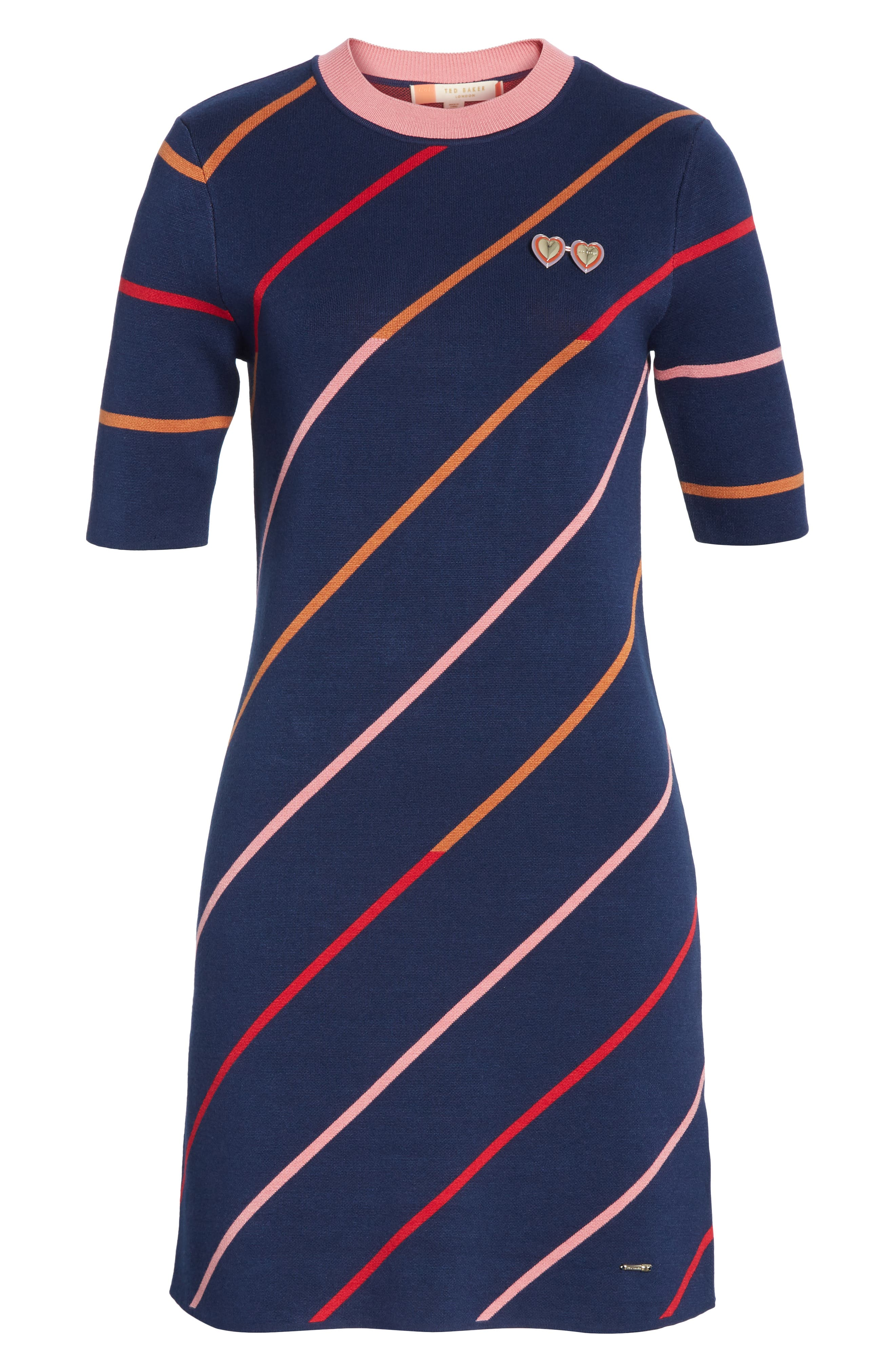 Colour by Numbers Pelinor Stripe Dress,                             Alternate thumbnail 6, color,                             410