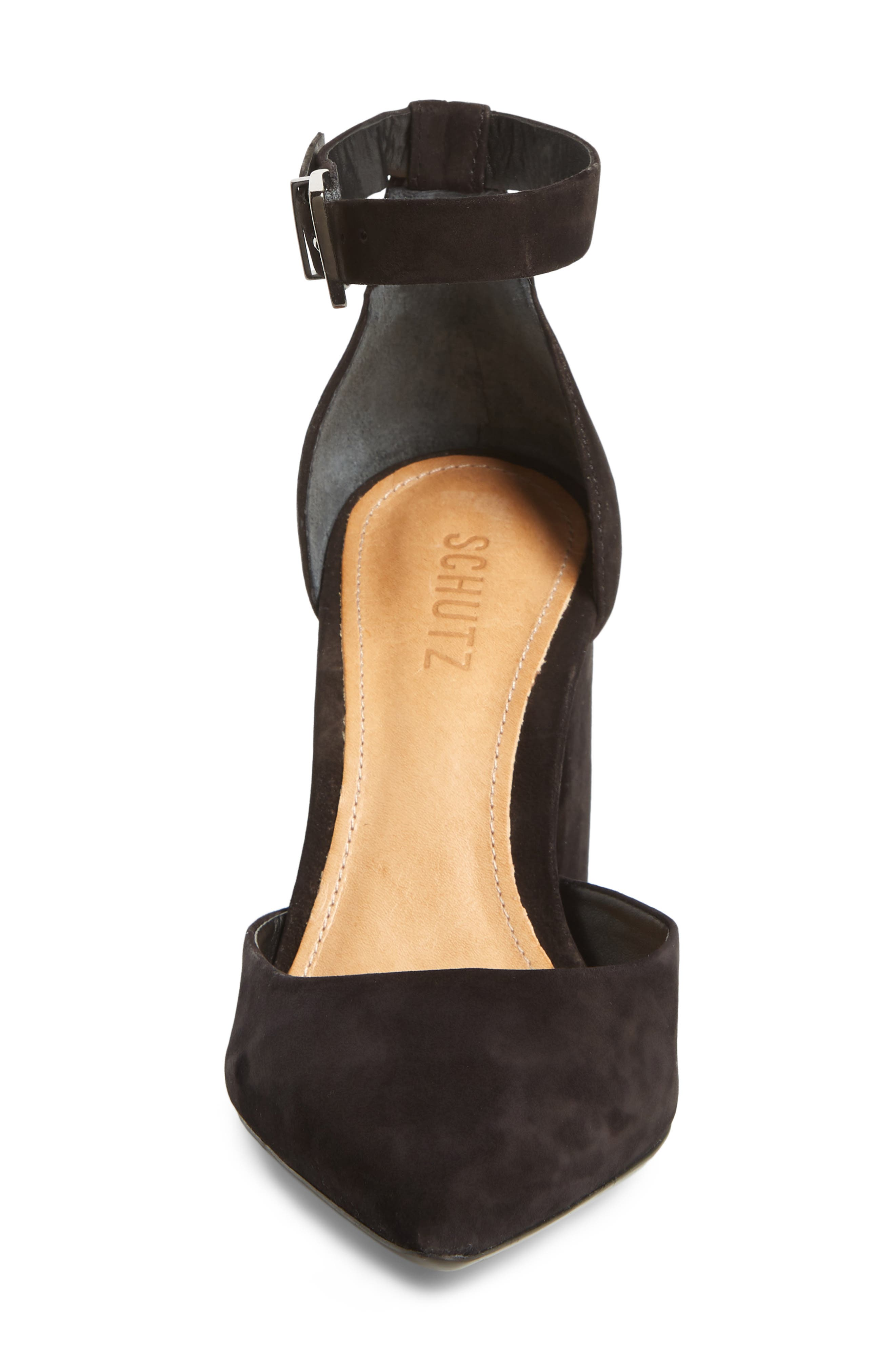 Ionara Ankle Strap Pump,                             Alternate thumbnail 4, color,                             BLACK NUBUCK LEATHER