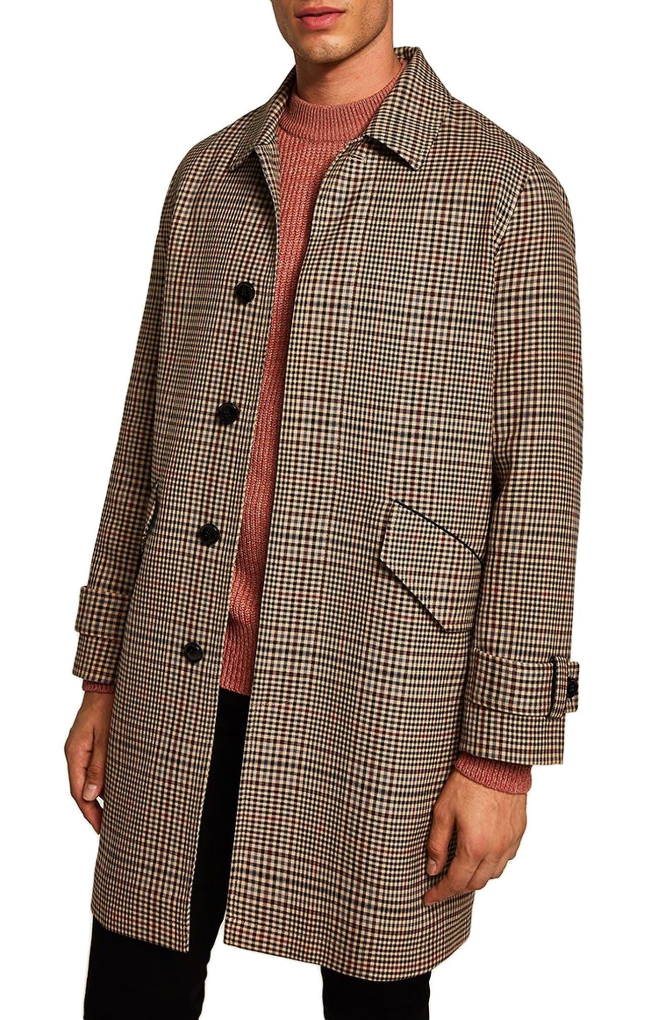 Check Mac Jacket,                             Main thumbnail 1, color,                             BROWN MULTI