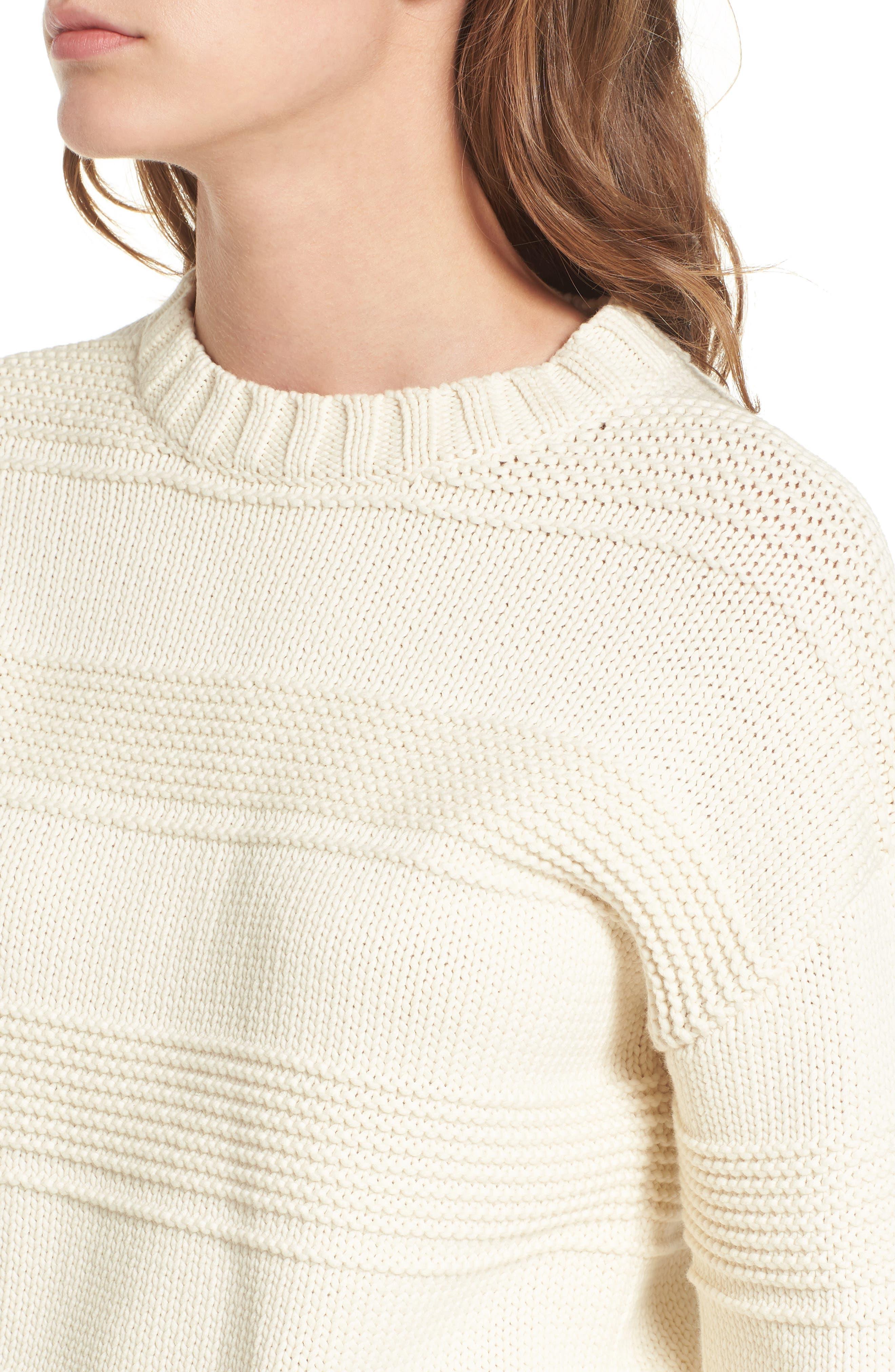 Sabrina Crewneck Sweater,                             Alternate thumbnail 4, color,                             BRIGHT CREAM