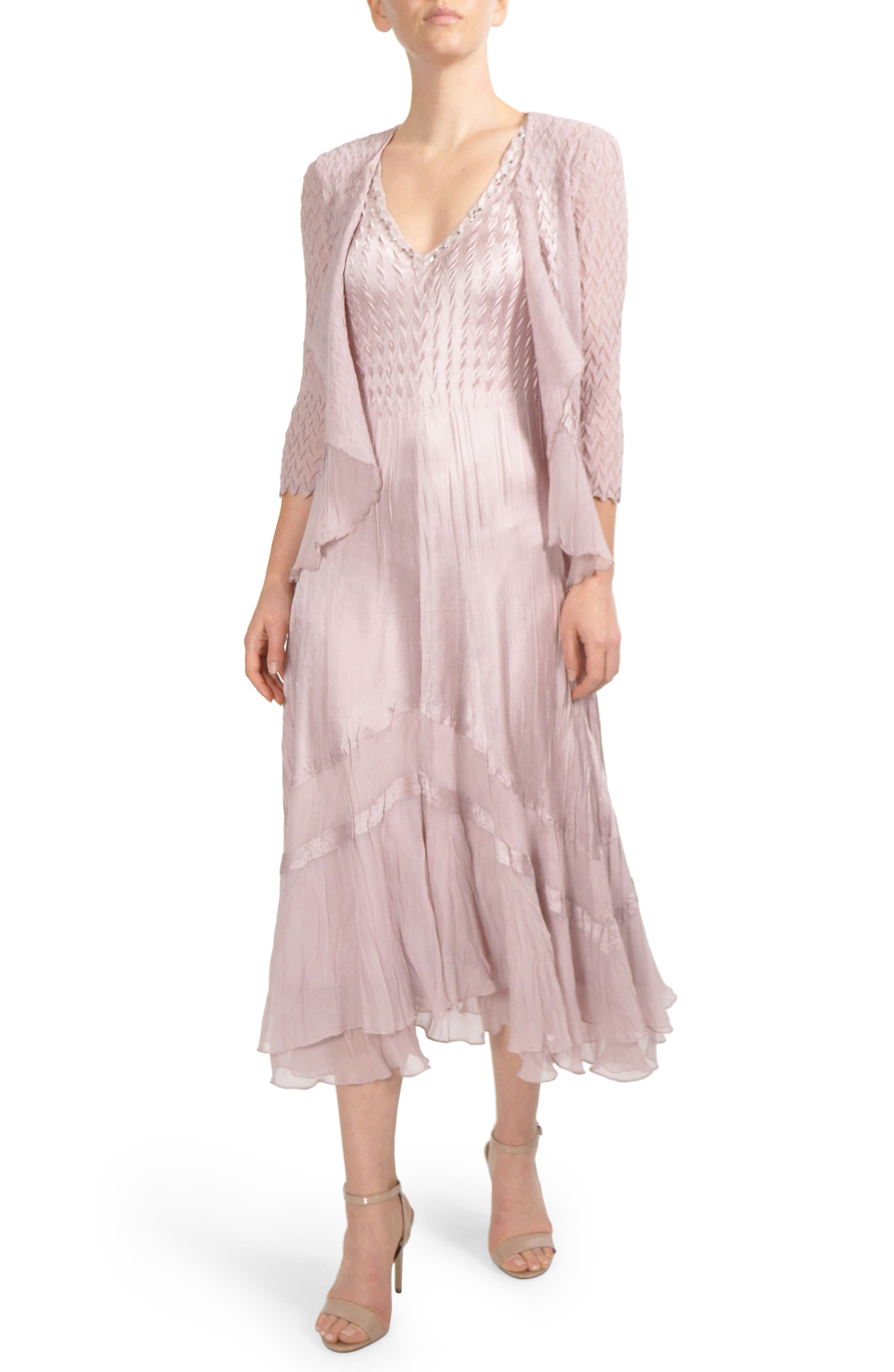 Embellished Tiered Hem Dress With Jacket,                             Main thumbnail 1, color,