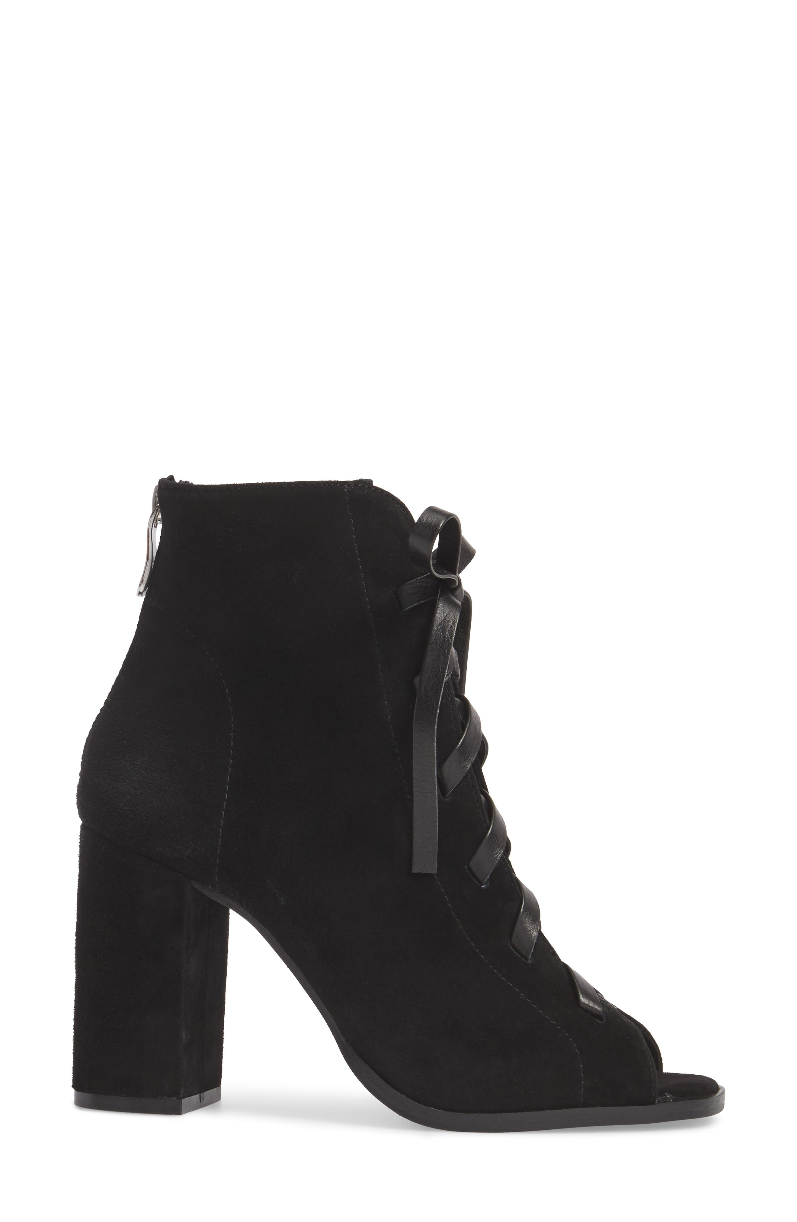 Layton Lace-Up Boot,                             Alternate thumbnail 3, color,                             BLACK SUEDE