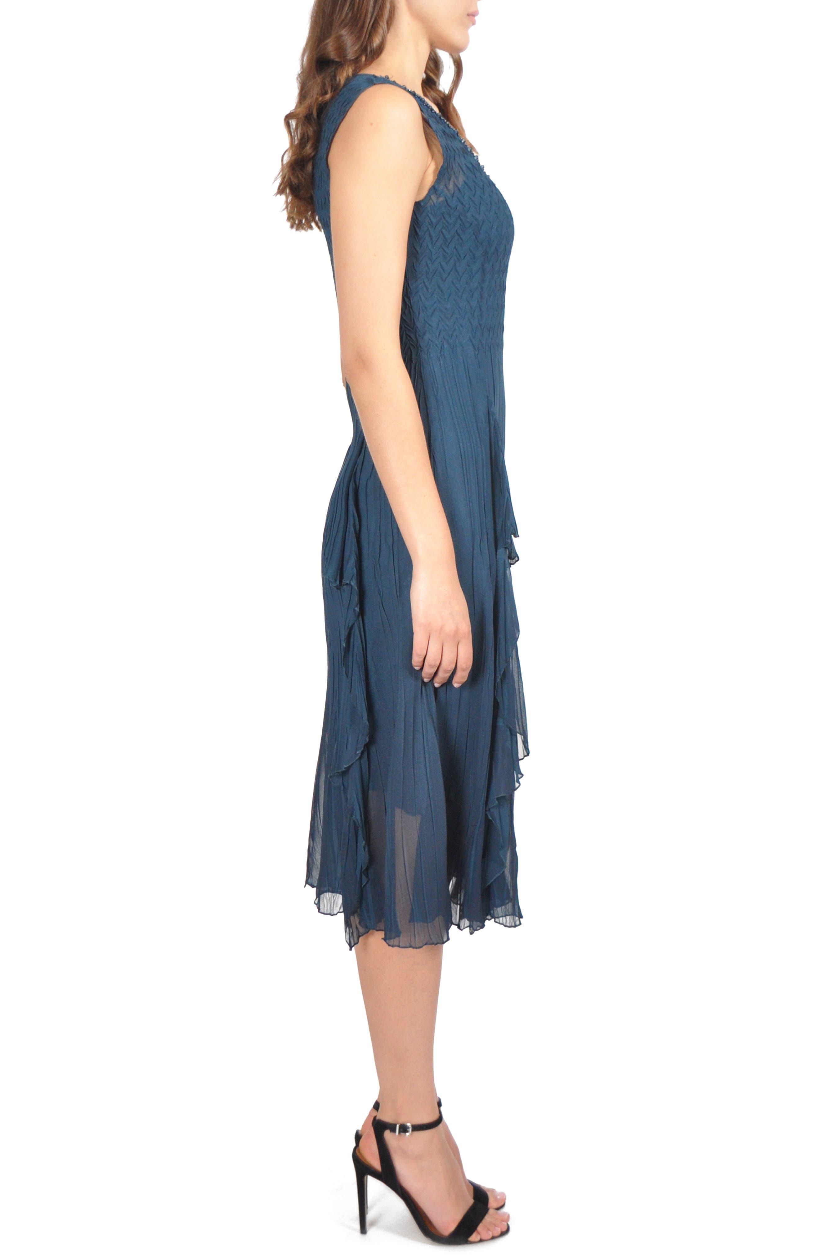 KOMAROV,                             Ruffle Midi Dress,                             Alternate thumbnail 3, color,                             420