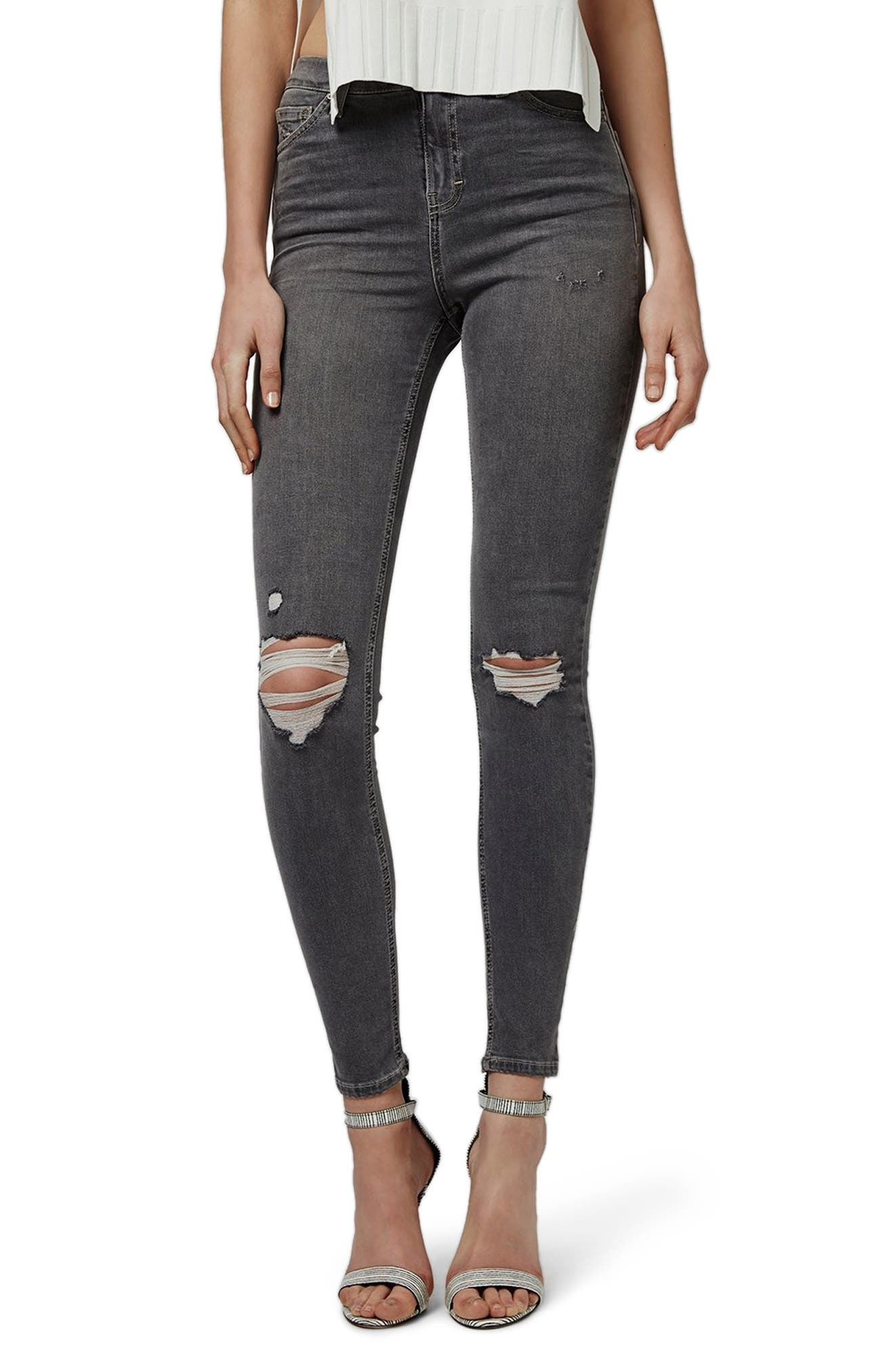 Jamie Ripped Skinny Jeans,                         Main,                         color, GREY
