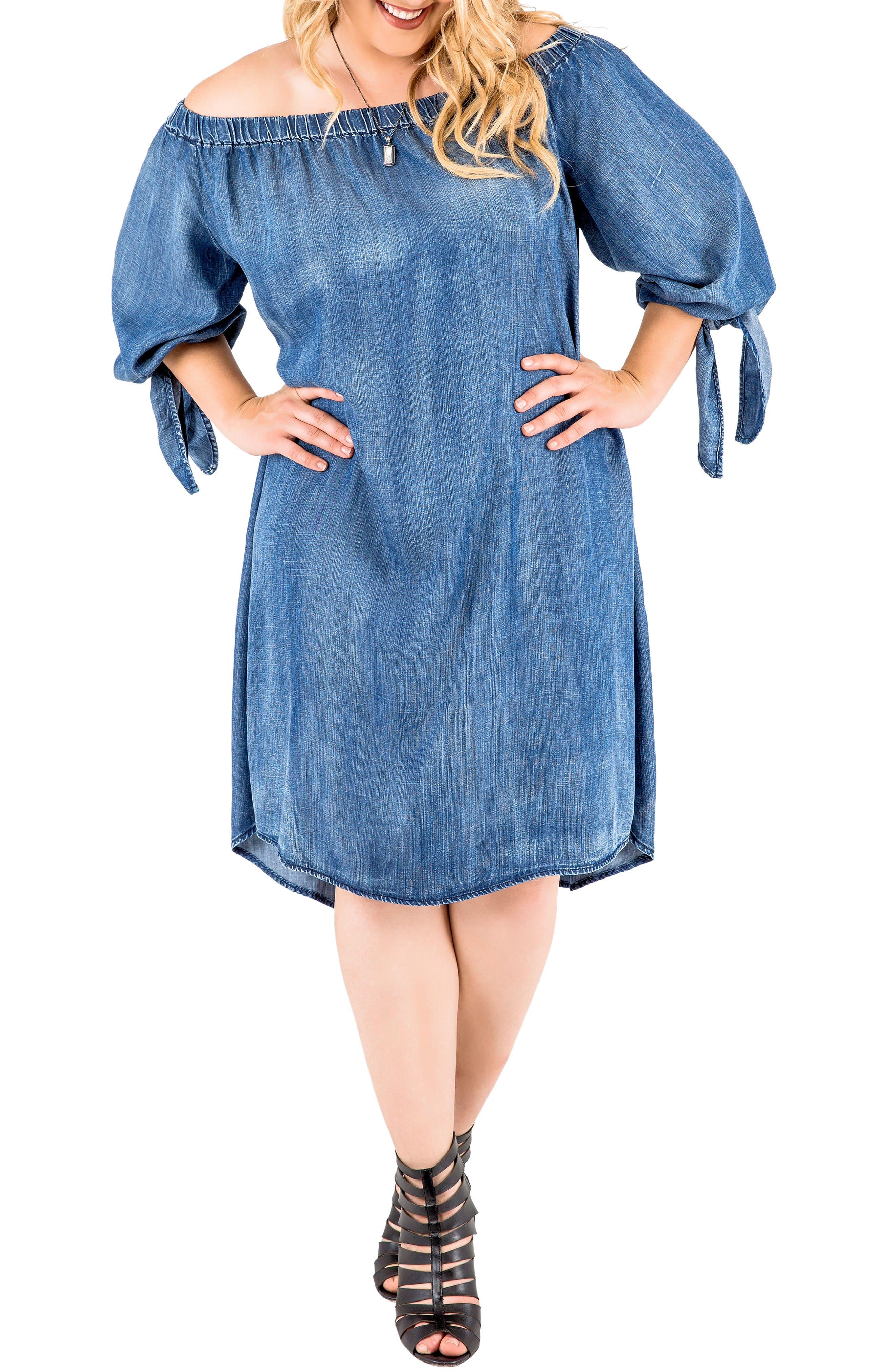 Julie Off the Shoulder Denim Dress,                             Main thumbnail 1, color,                             FROZEN POND