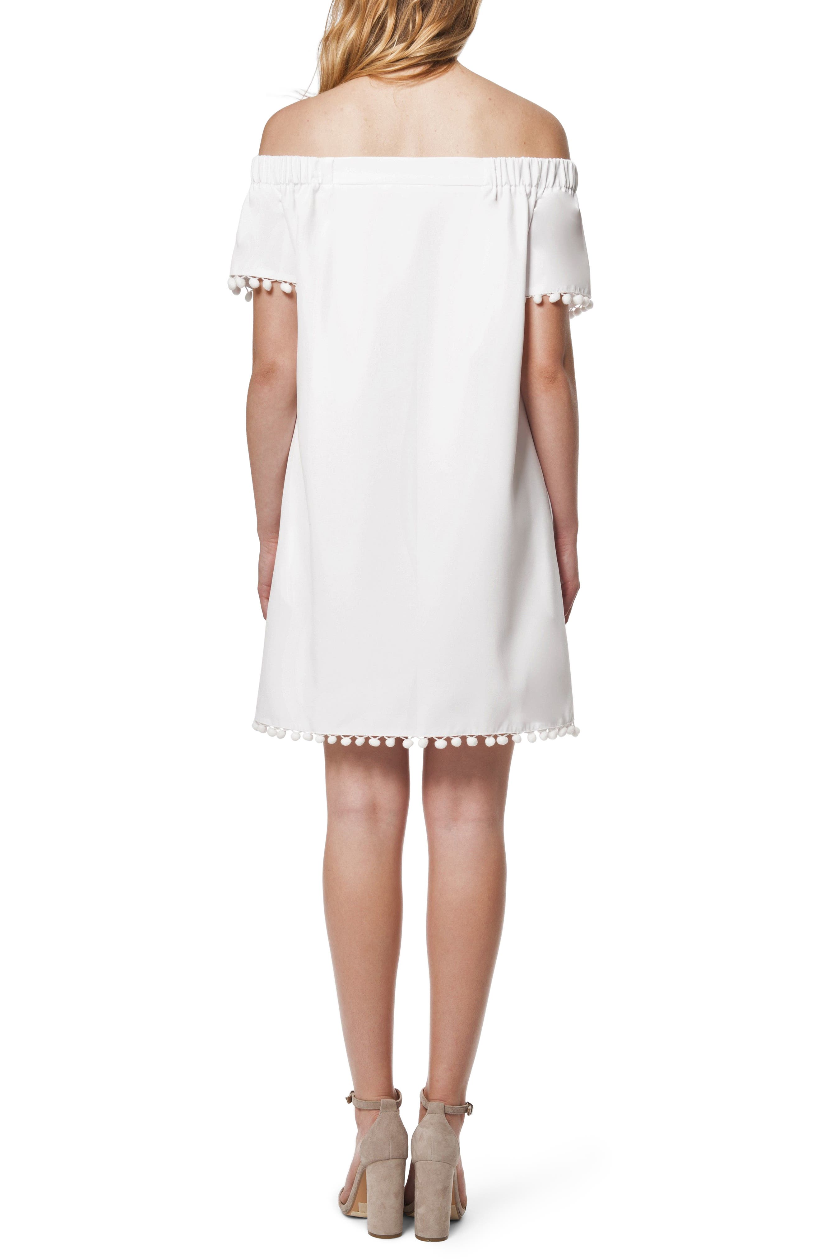 Pom Pom Off the Shoulder Dress,                             Alternate thumbnail 2, color,