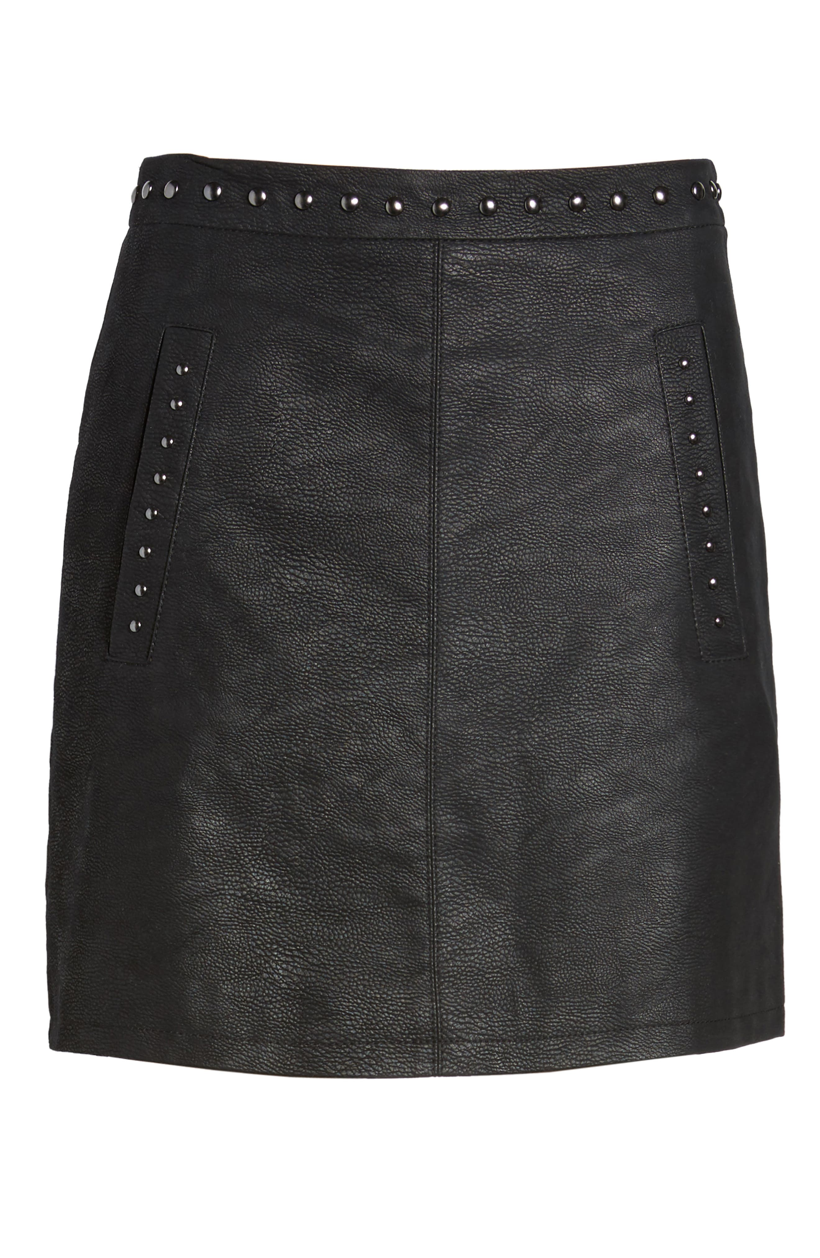 Studded Faux Leather Miniskirt,                             Alternate thumbnail 6, color,                             001